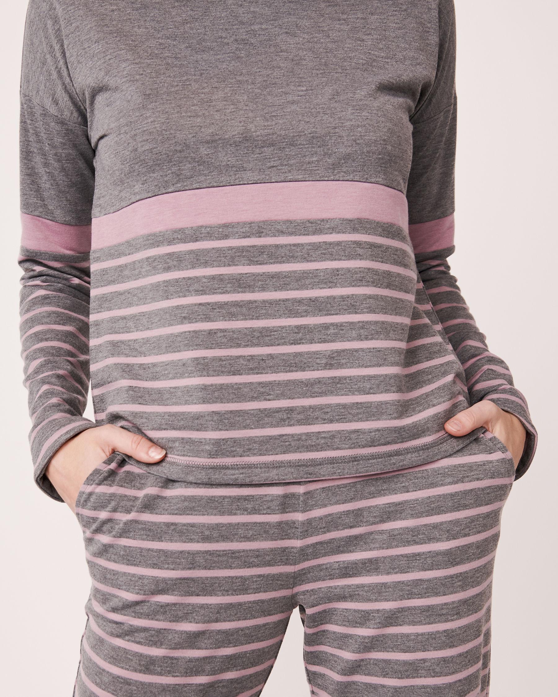 LA VIE EN ROSE Long Sleeve Striped Shirt Grey and pink mix 768-373-0-11 - View3