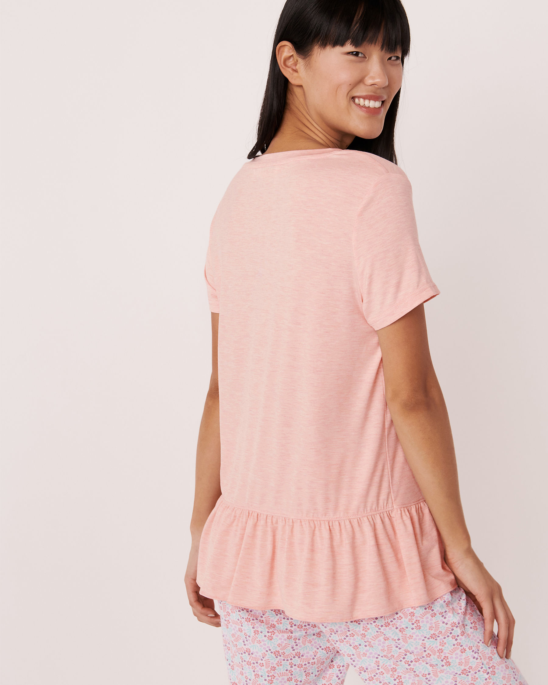 LA VIE EN ROSE Ruffle Hem T-shirt Pink mix 40100054 - View2