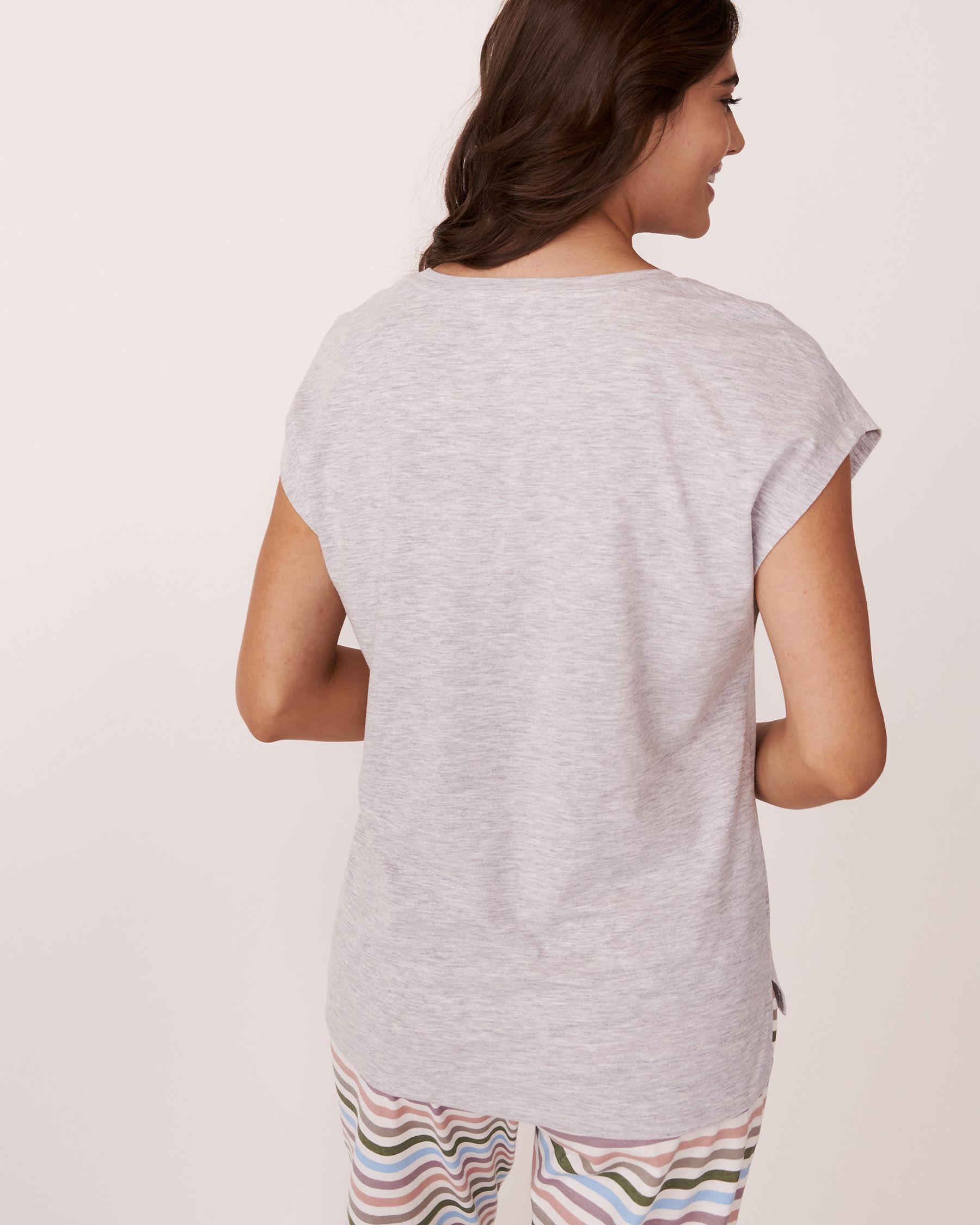 LA VIE EN ROSE Crew Neck T-shirt Grey 880-386-0-11 - View2