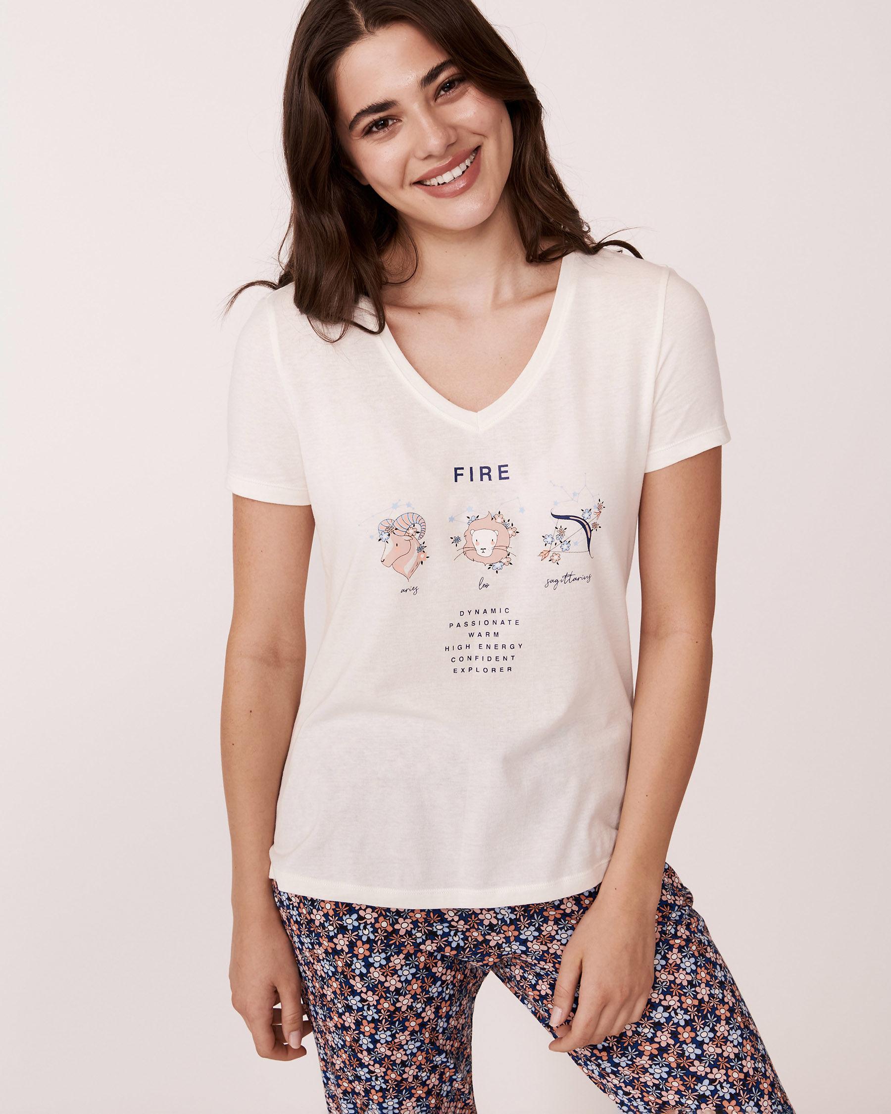 LA VIE EN ROSE V-neckline T-shirt White 878-386-0-11 - View1