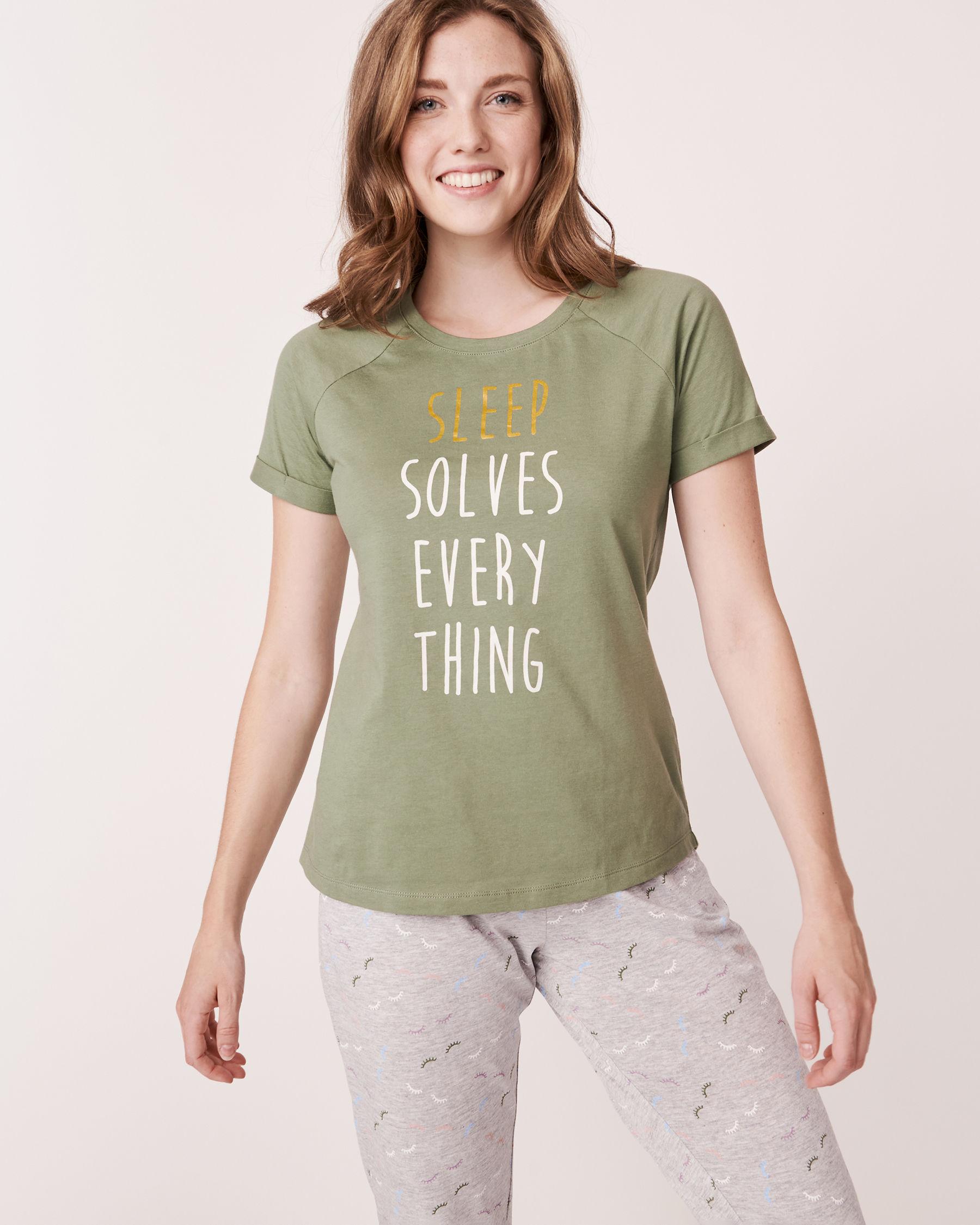 LA VIE EN ROSE Raglan Short Sleeves Shirt Khaki 880-386-1-11 - View1