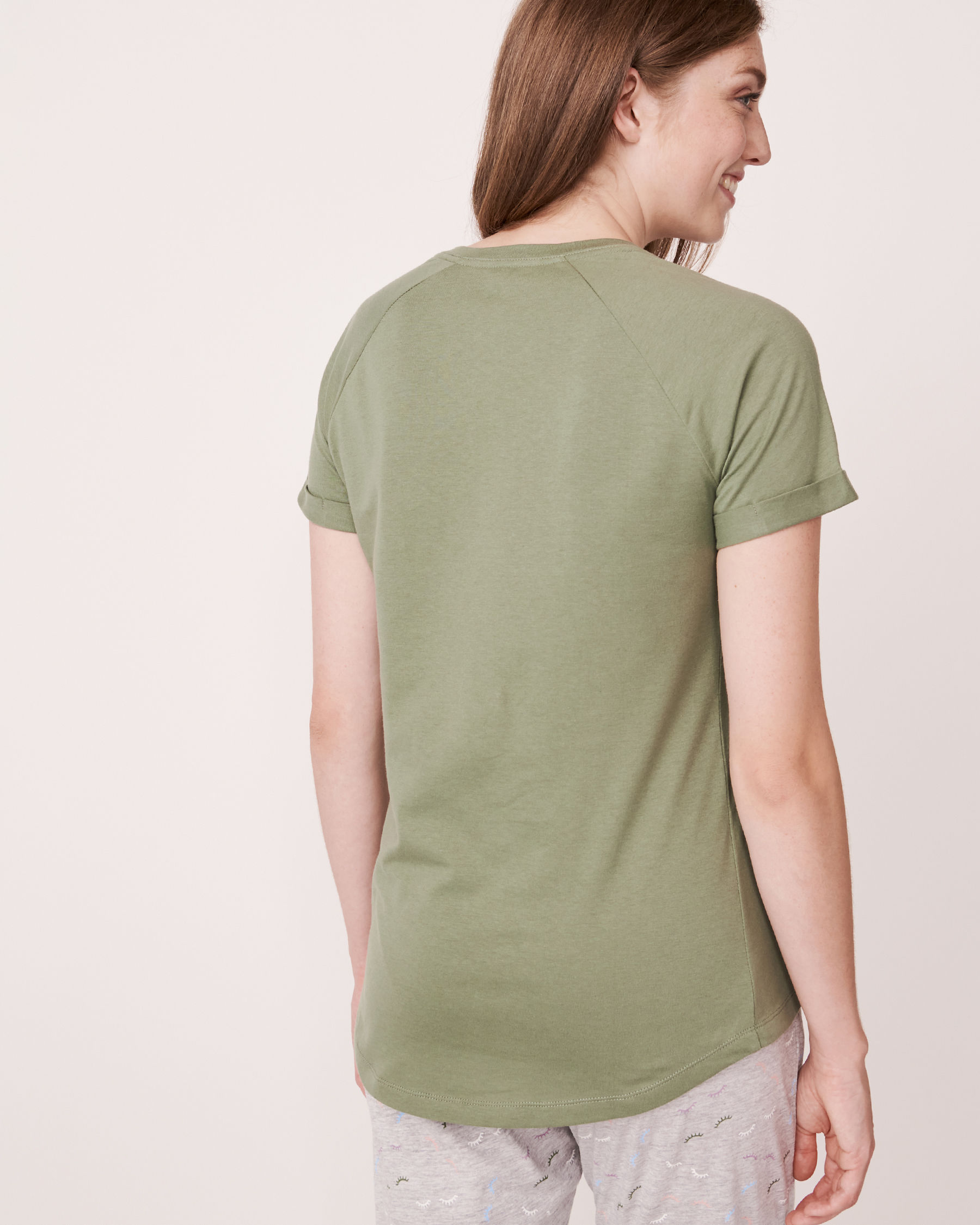 LA VIE EN ROSE Raglan Short Sleeves Shirt Khaki 880-386-1-11 - View2