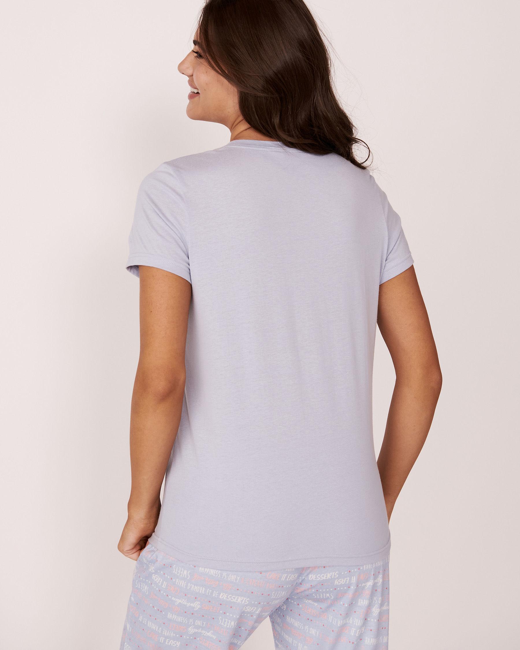 LA VIE EN ROSE V-neckline T-shirt Blue sky 40100012 - View2