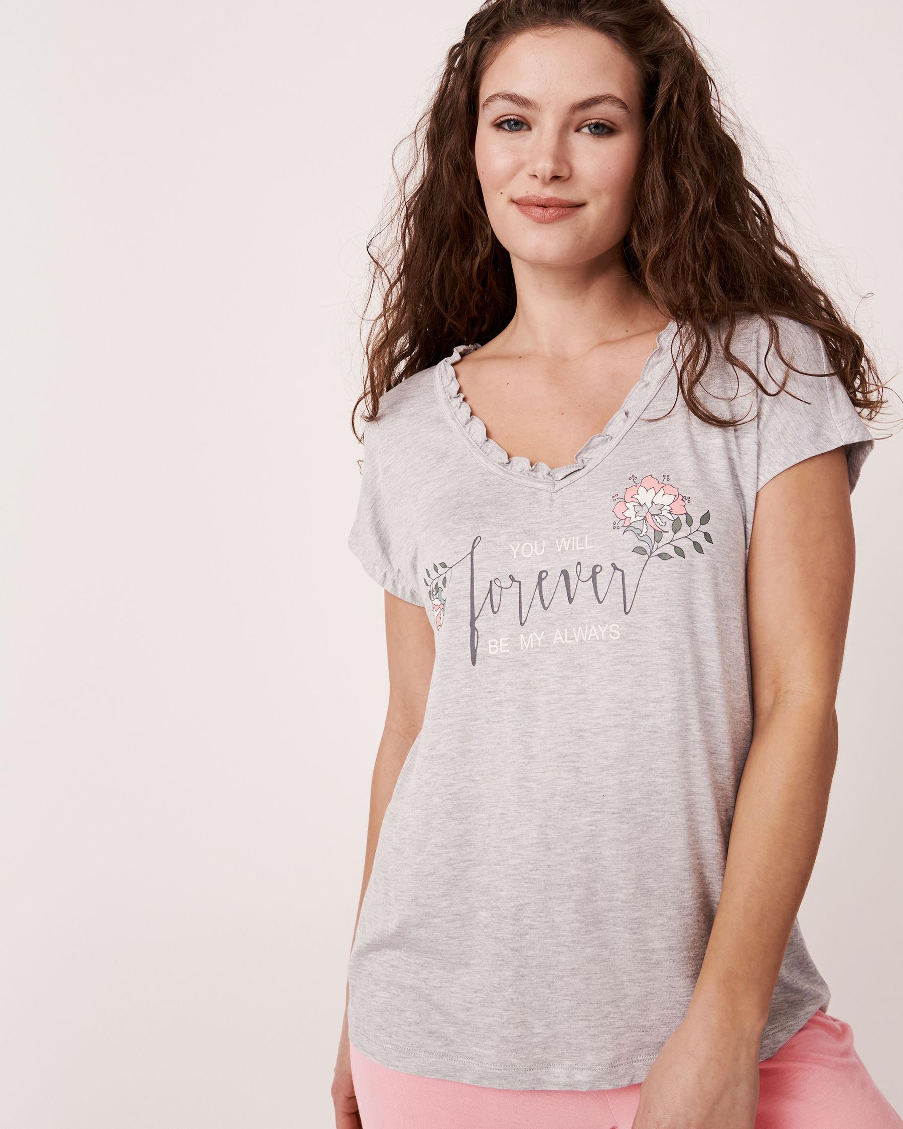 LA VIE EN ROSE V-Neckline T-shirt Grey 40100030 - View1