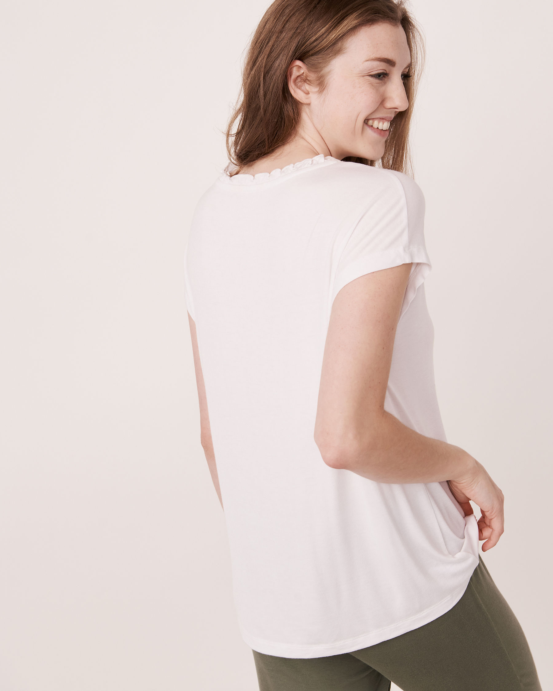LA VIE EN ROSE Chandail manches courtes encolure en V Blanc 40100030 - Voir2