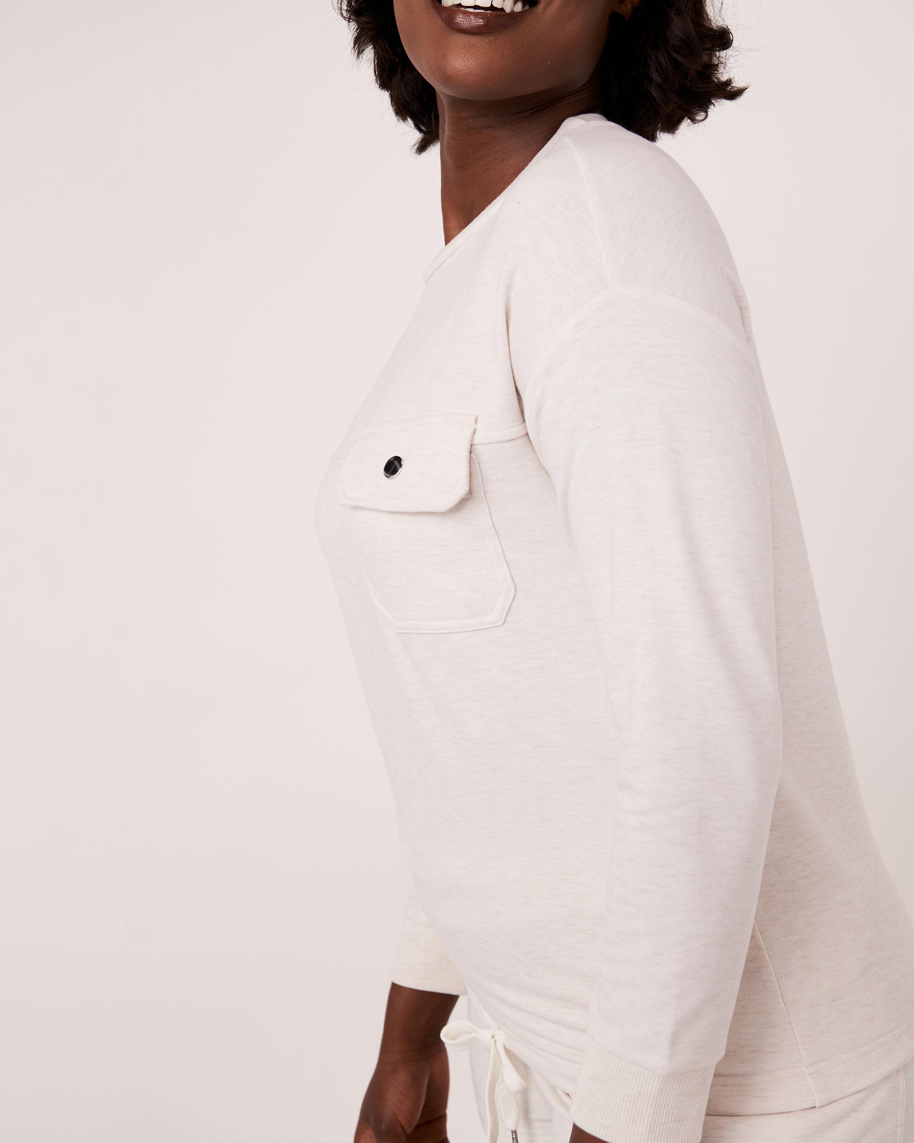 LA VIE EN ROSE Patch Pocket Long Sleeve Shirt Soft grey 50100004 - View3