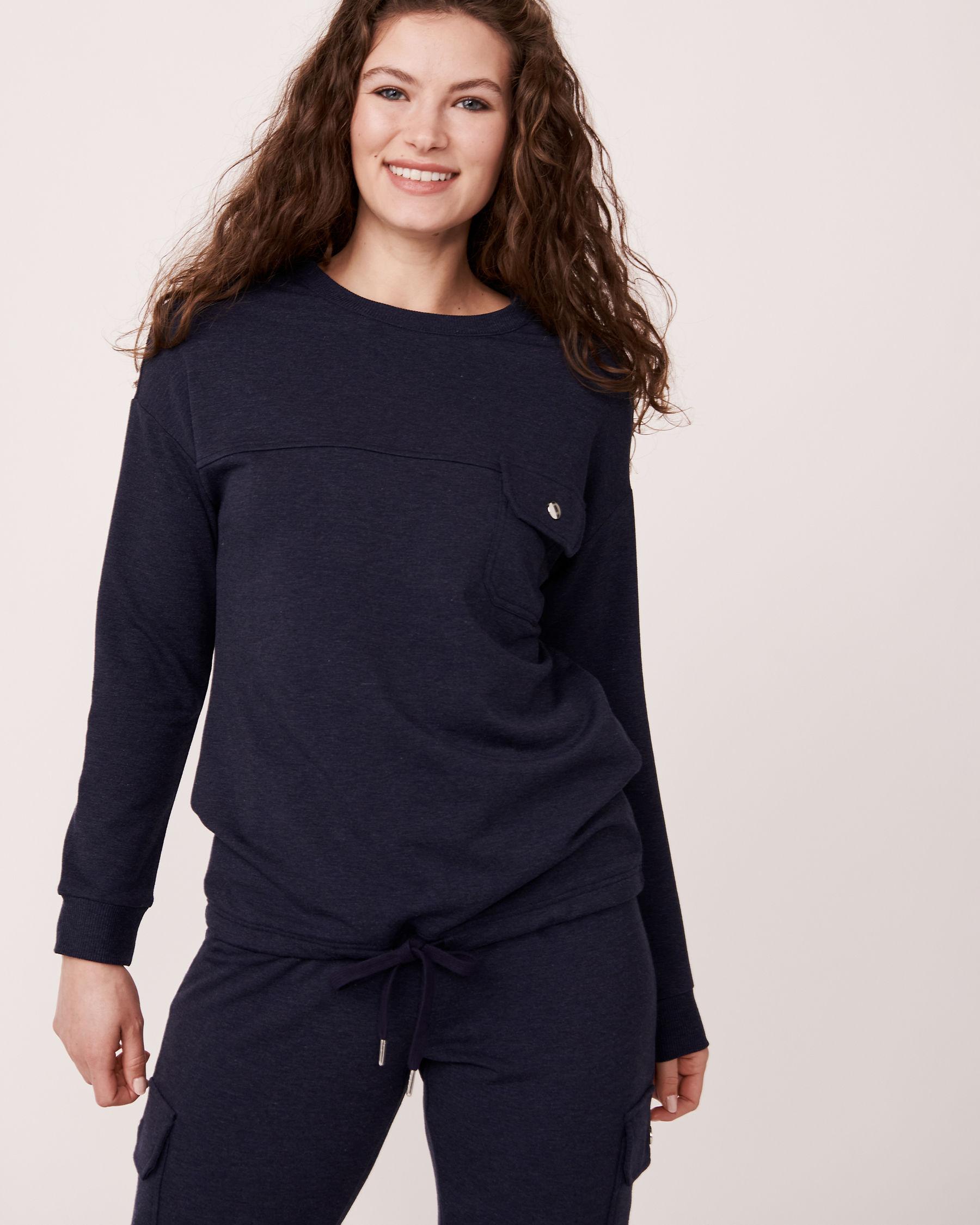 LA VIE EN ROSE Patch Pocket Long Sleeve Shirt Blue 50100004 - View1