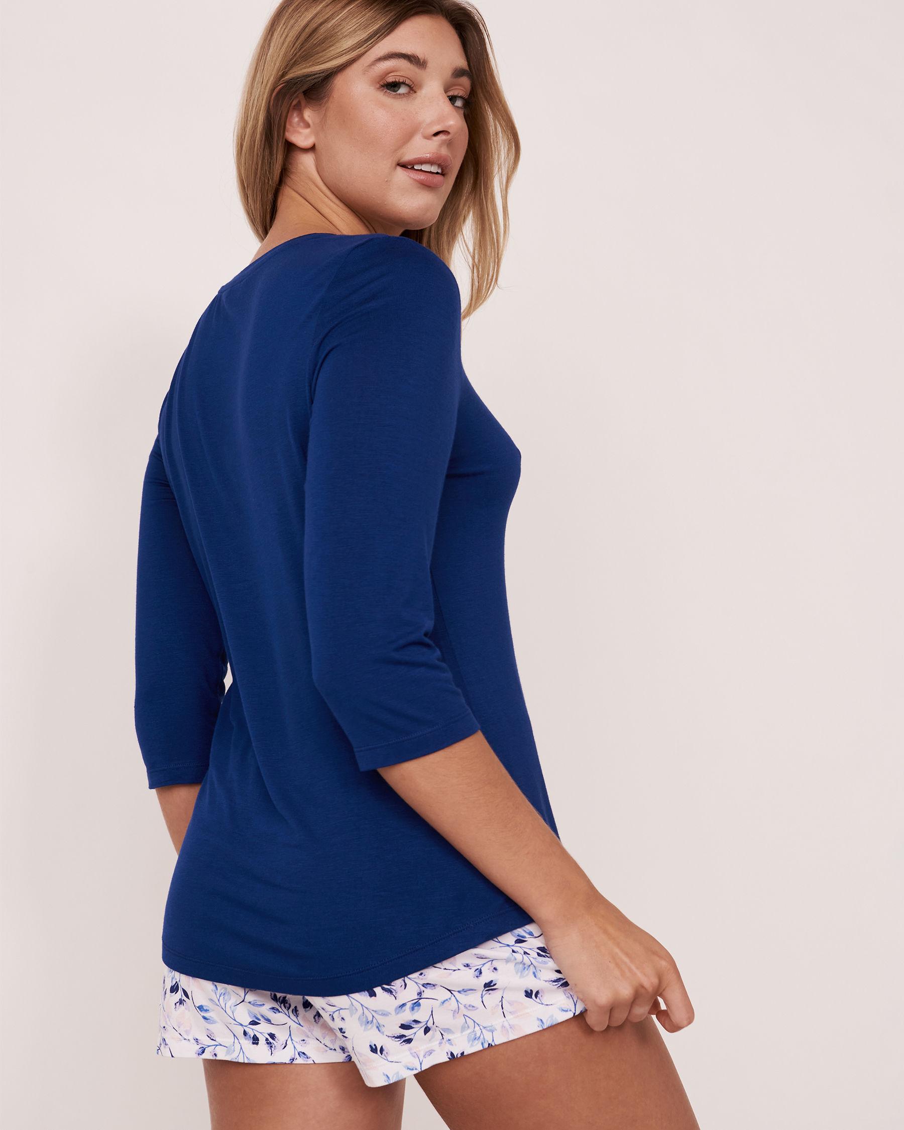 LA VIE EN ROSE V-neck 3/4 Sleeve Shirt Blue 40100072 - View2