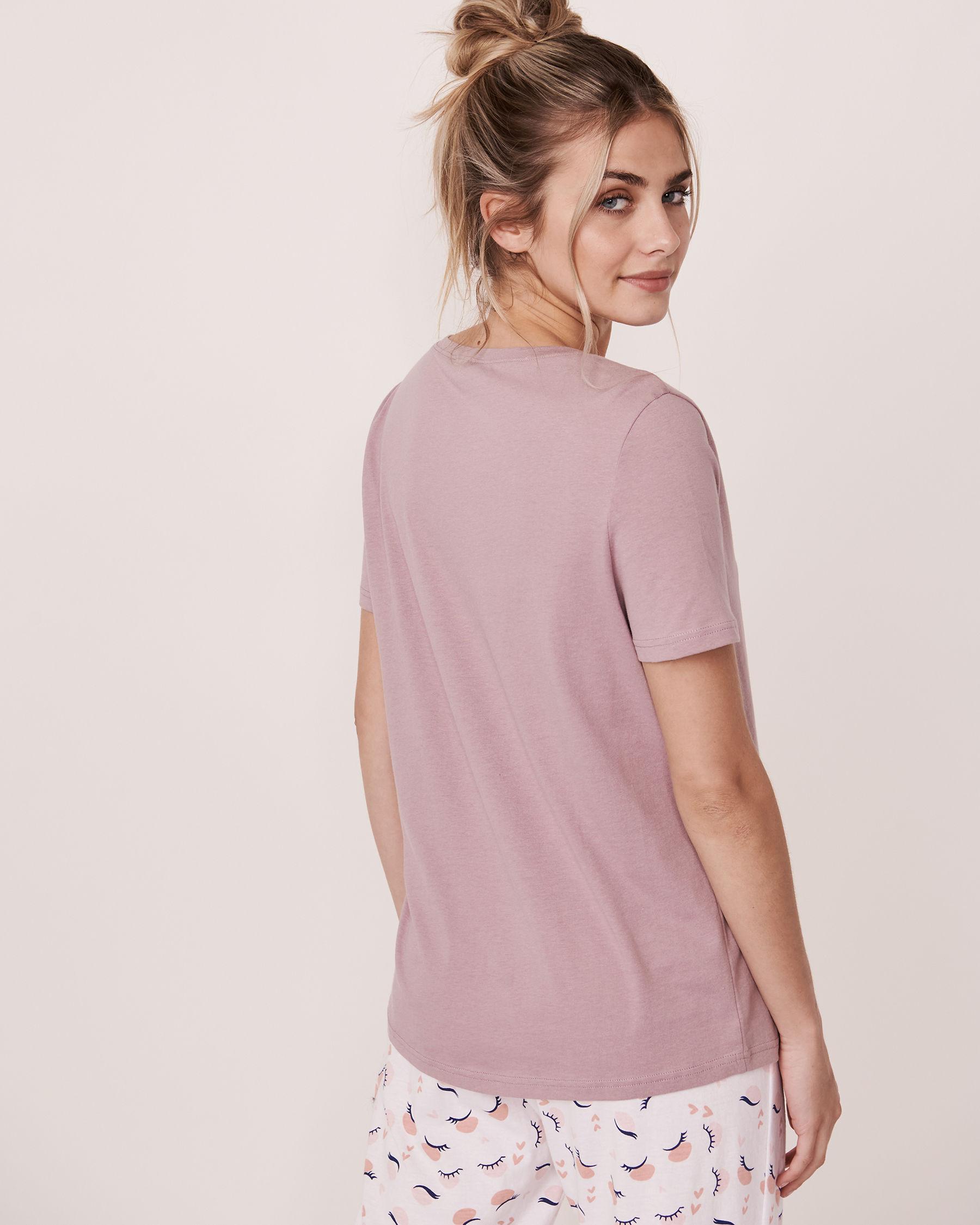 LA VIE EN ROSE V-neckline T-shirt Purple 40100044 - View2
