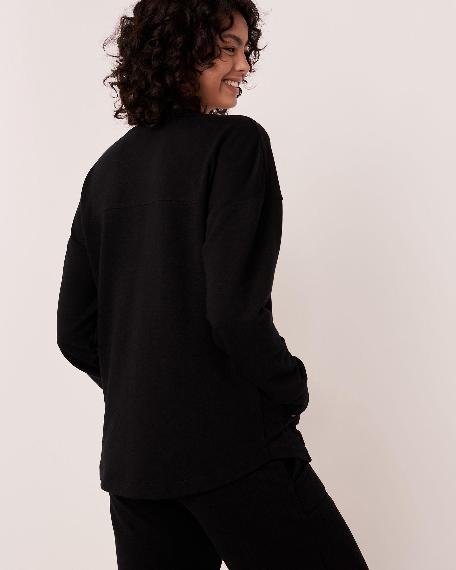 LA VIE EN ROSE Drop Shoulder Shirt Black 50100018 - View2