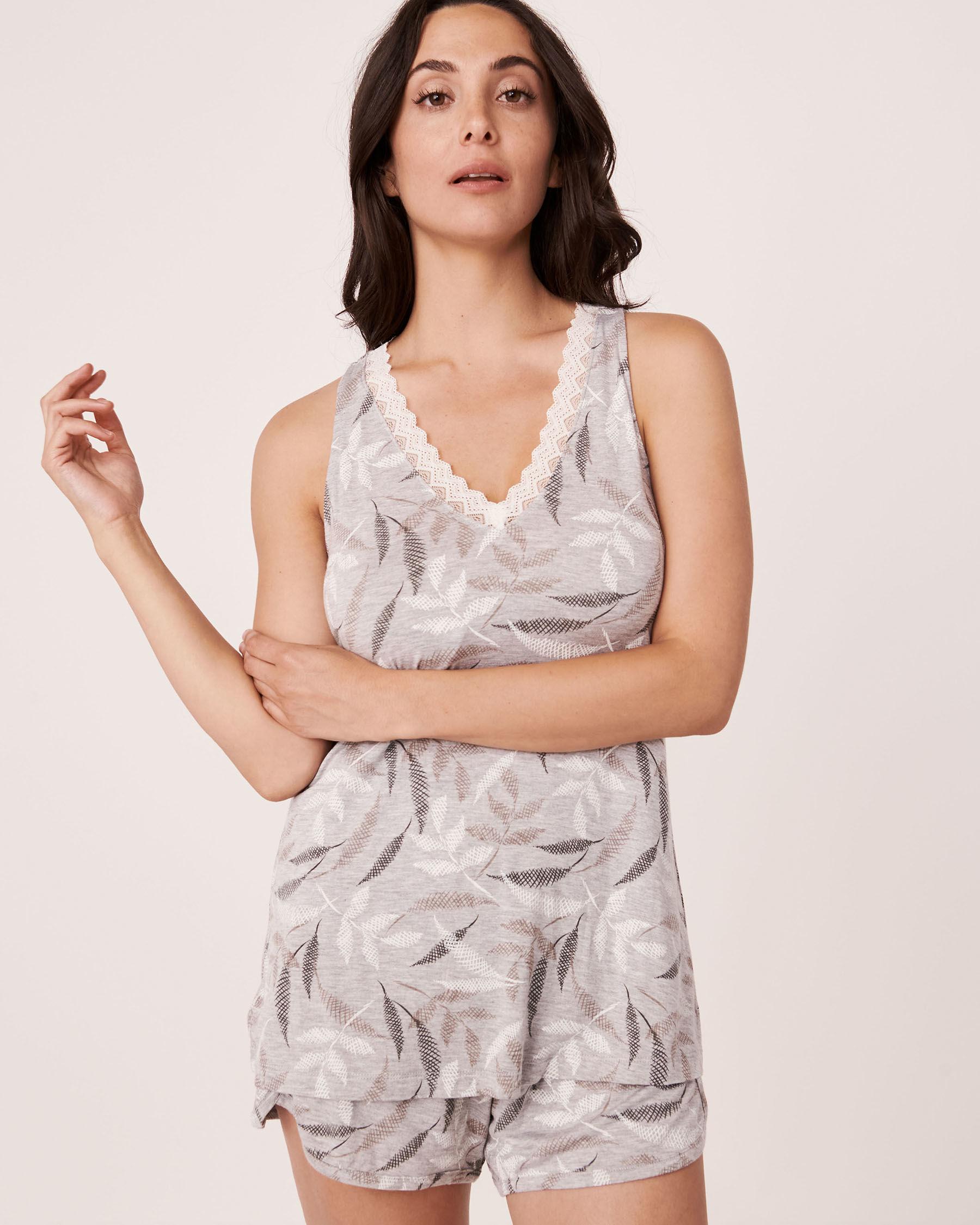 LA VIE EN ROSE Camisole encolure en V garniture de dentelle Feuilles abstraites 40100175 - Voir1