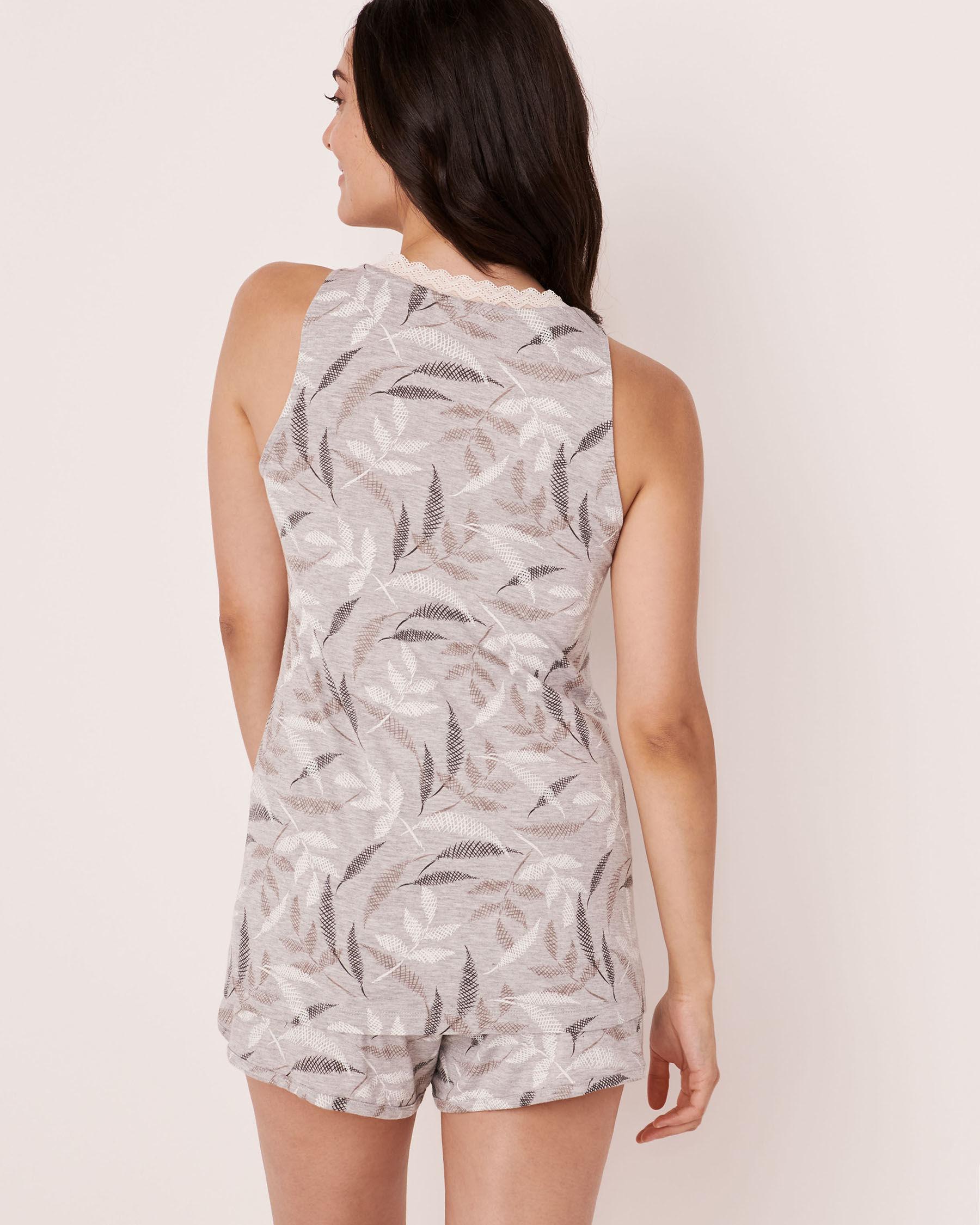 LA VIE EN ROSE Camisole encolure en V garniture de dentelle Feuilles abstraites 40100175 - Voir2