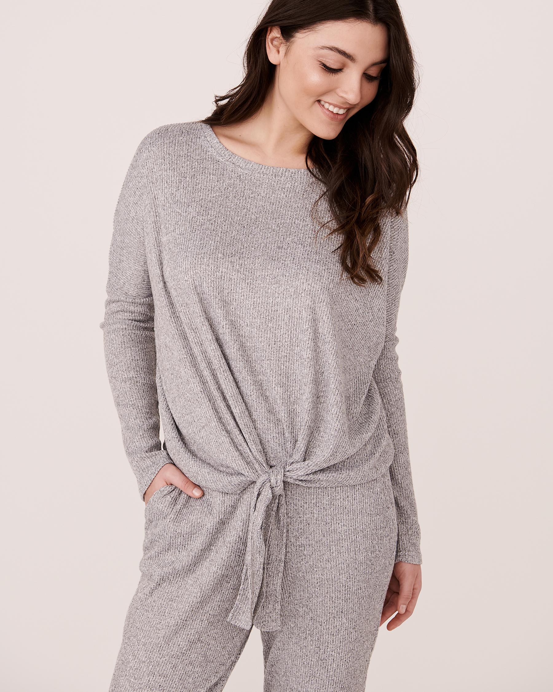 LA VIE EN ROSE Ribbed Long Sleeve Shirt Grey 774-473-0-04 - View1