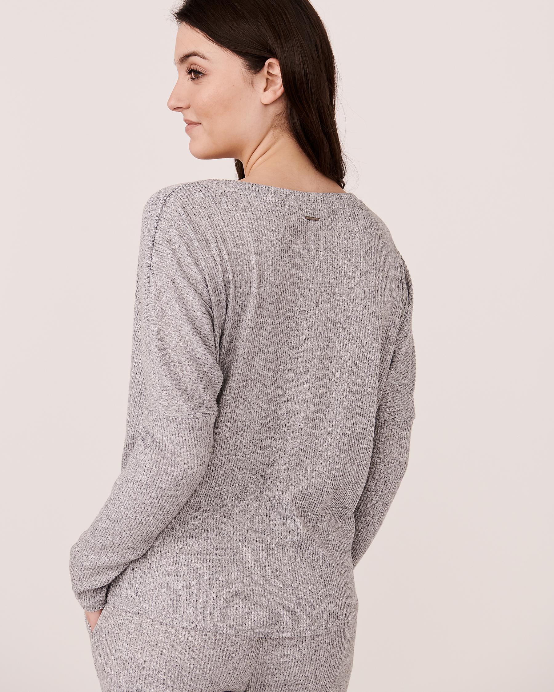 LA VIE EN ROSE Ribbed Long Sleeve Shirt Grey 774-473-0-04 - View2
