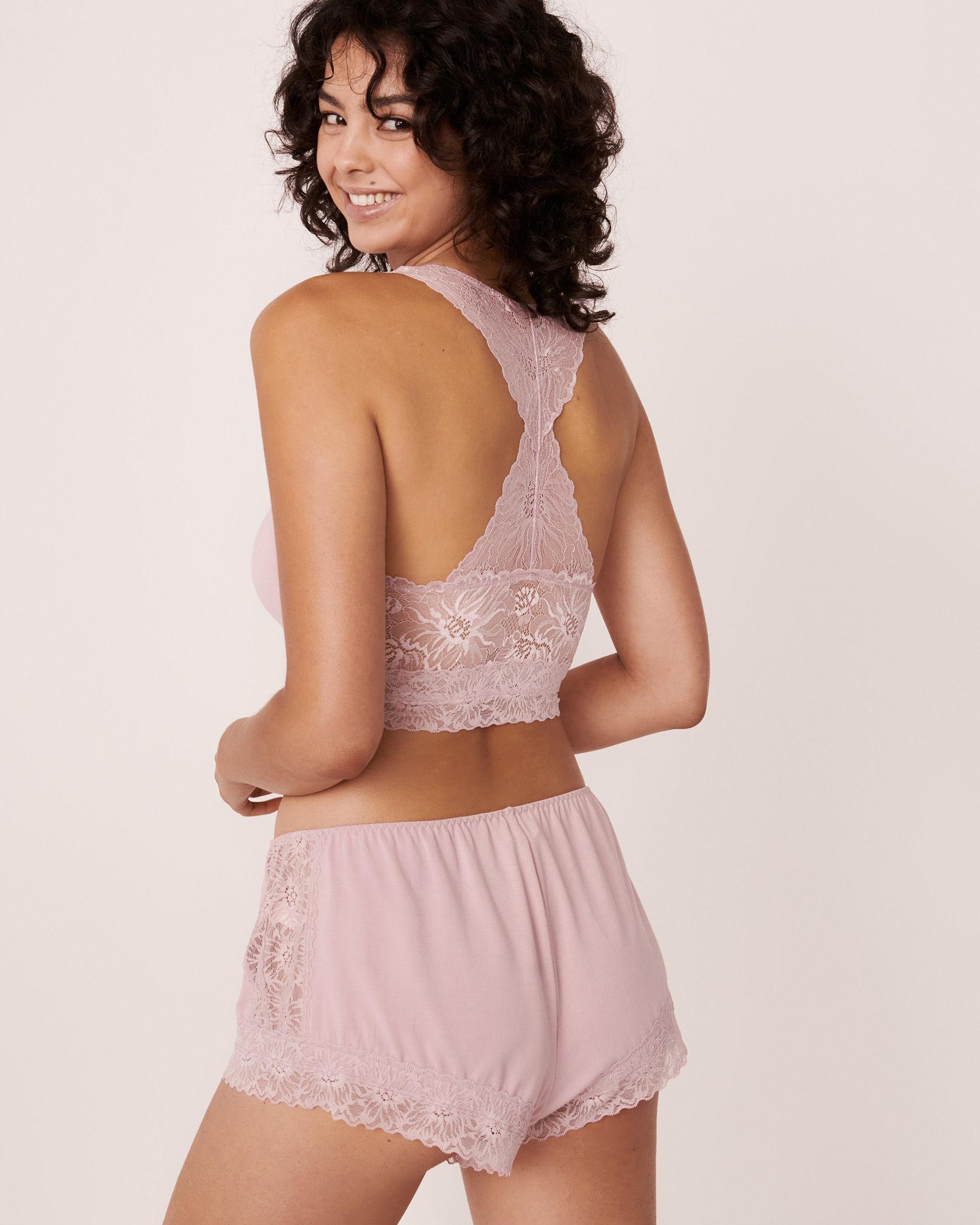 LA VIE EN ROSE Modal Lace Back Crop Cami Lilac 40100146 - View1