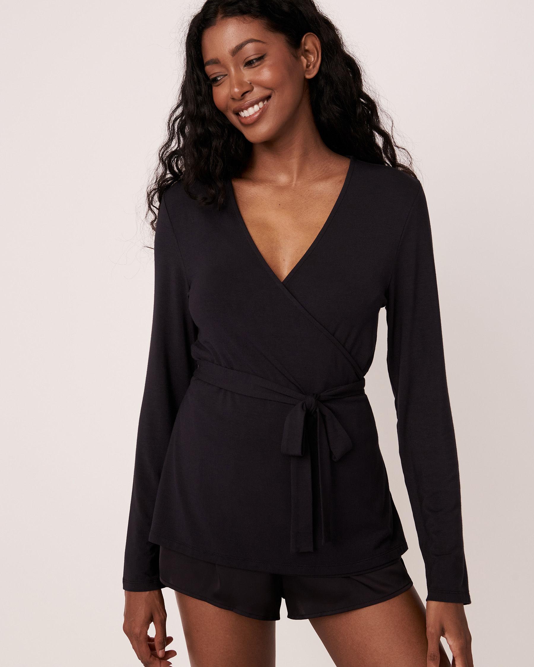 LA VIE EN ROSE Modal Wrap Over Long Sleeve Shirt Black 40100157 - View2