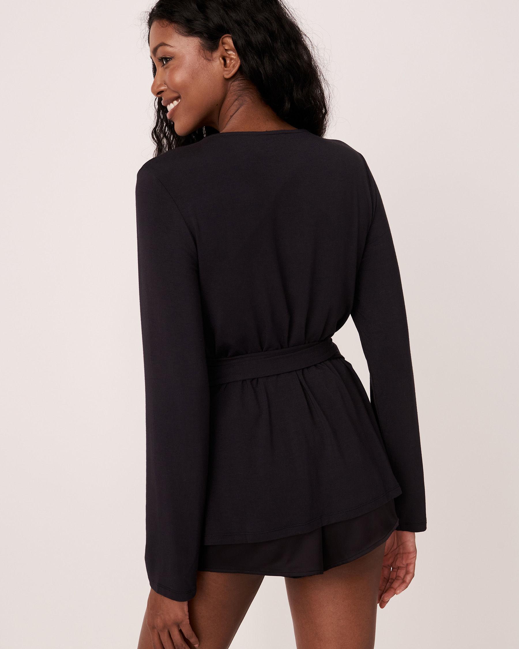 LA VIE EN ROSE Modal Wrap Over Long Sleeve Shirt Black 40100157 - View3