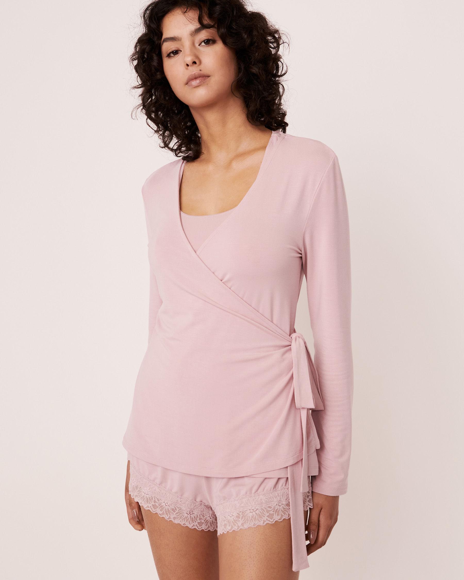 LA VIE EN ROSE Modal Wrap Over Long Sleeve Shirt Lilac 40100157 - View1