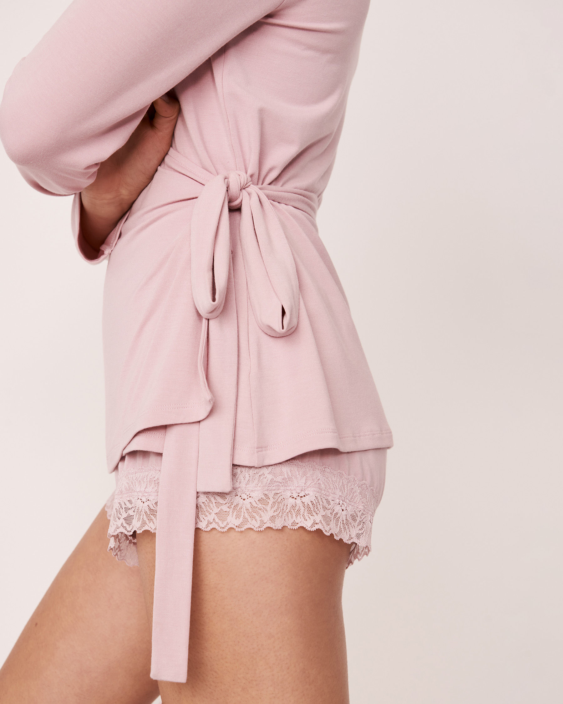 LA VIE EN ROSE Modal Wrap Over Long Sleeve Shirt Lilac 40100157 - View3