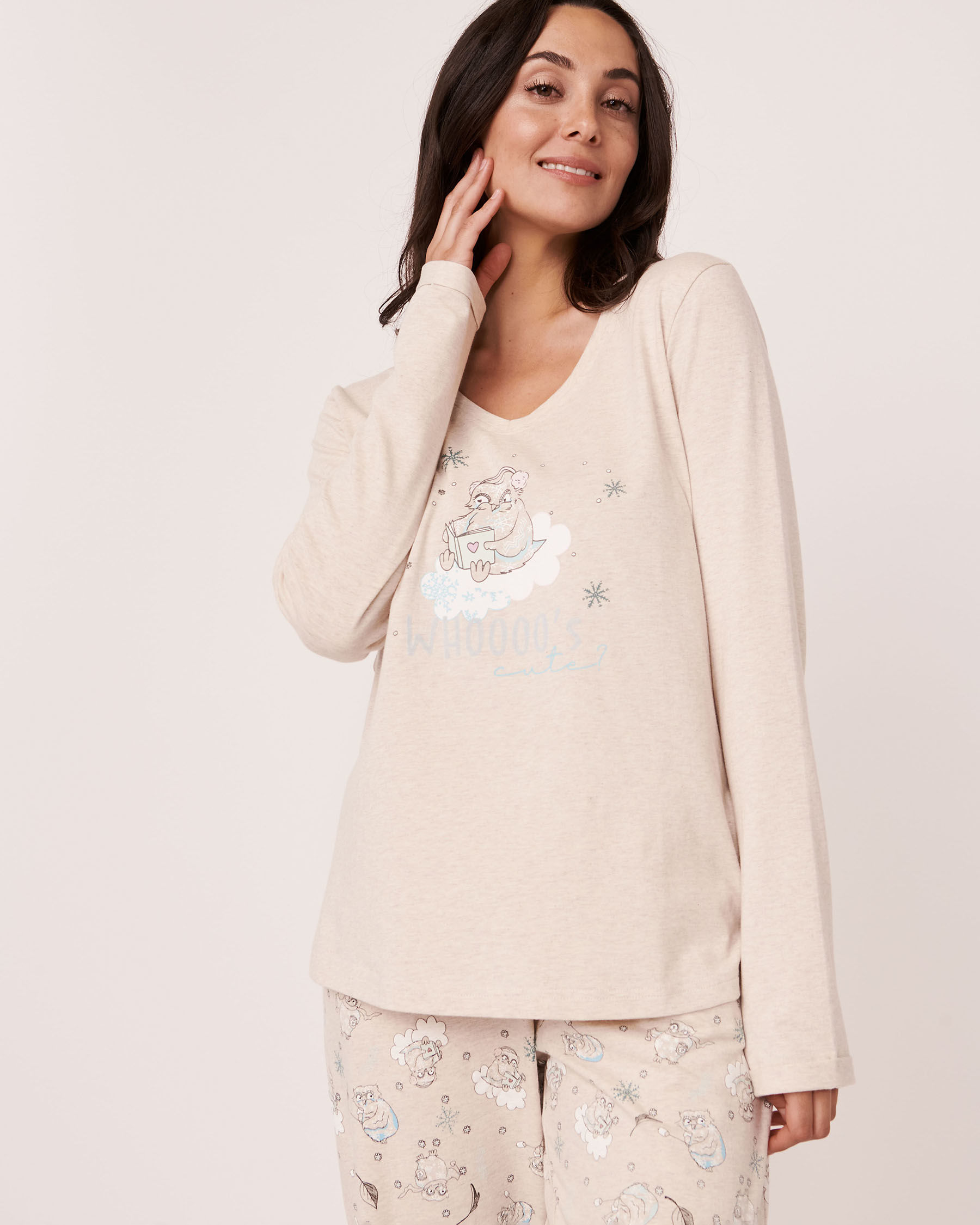 LA VIE EN ROSE Organic Cotton Long Sleeve Shirt Oatmeal 40100154 - View1