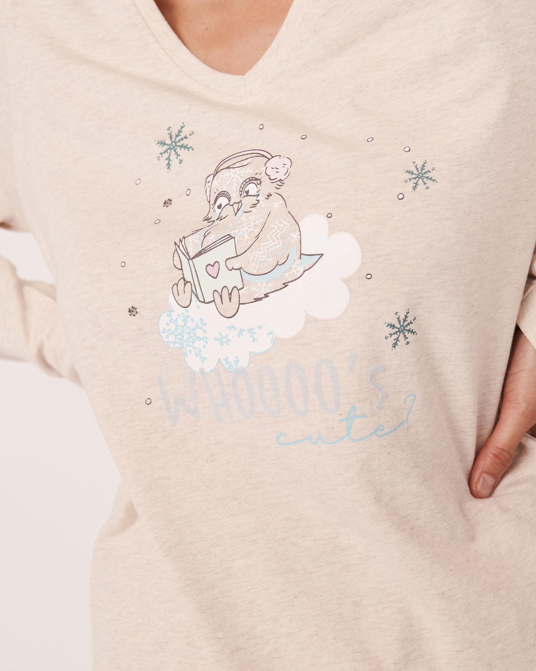 LA VIE EN ROSE Organic Cotton Long Sleeve Shirt Oatmeal 40100154 - View2