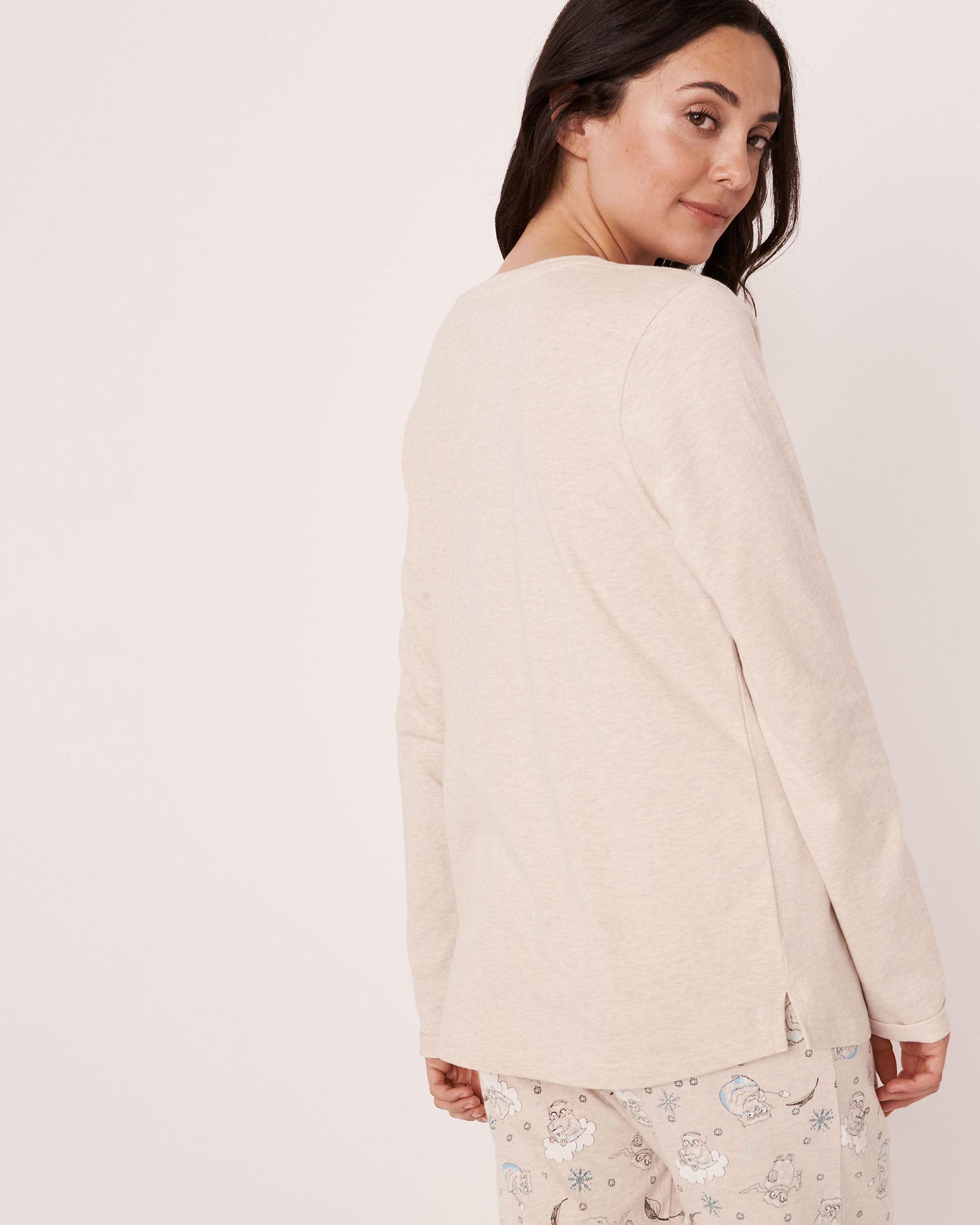 LA VIE EN ROSE Organic Cotton Long Sleeve Shirt Oatmeal 40100154 - View3