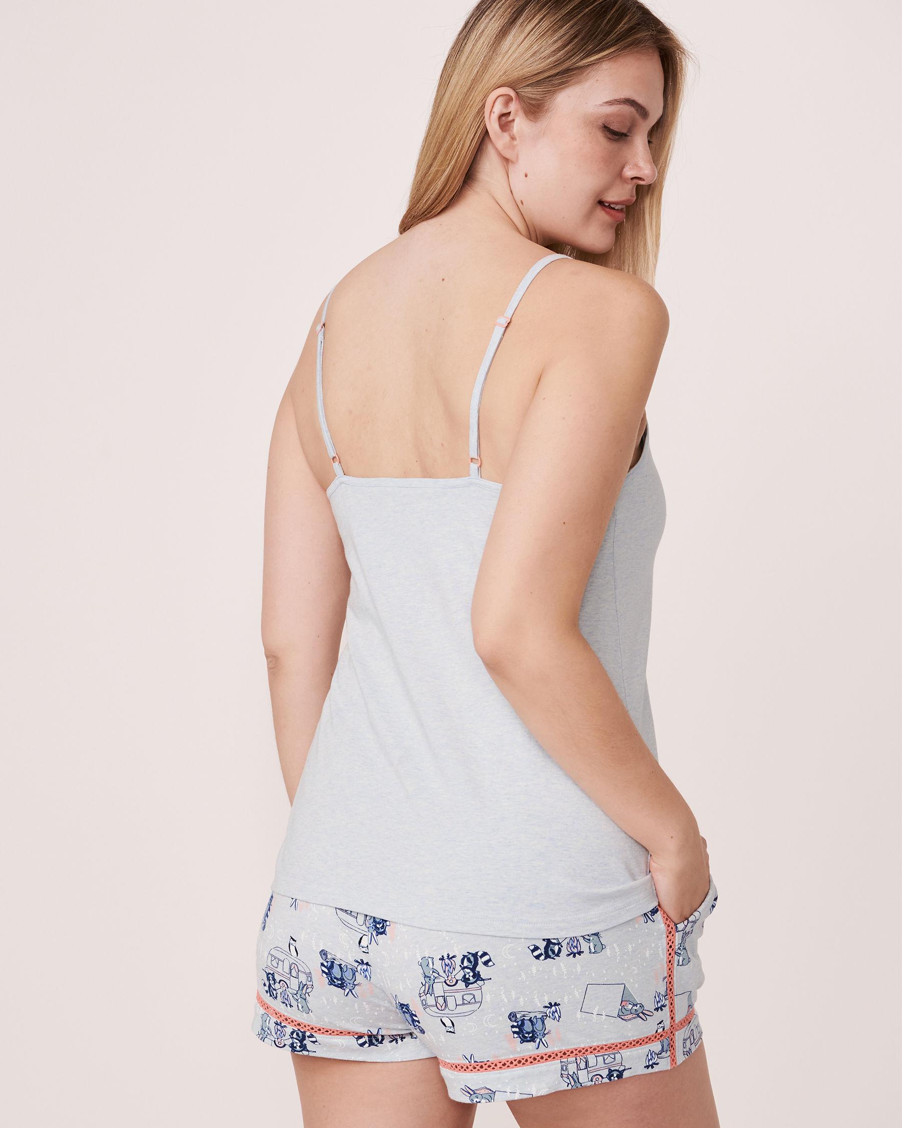 LA VIE EN ROSE Organic Cotton V-neck Cami Blue mix 40100046 - View2