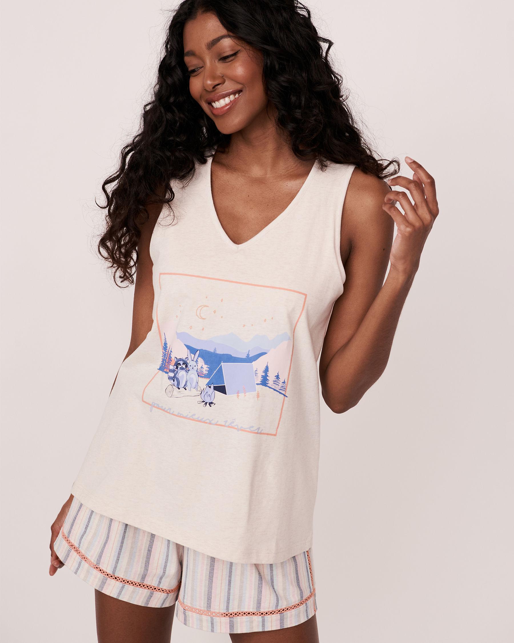 LA VIE EN ROSE Organic Cotton V-neck Cami Grey mix 40100049 - View1