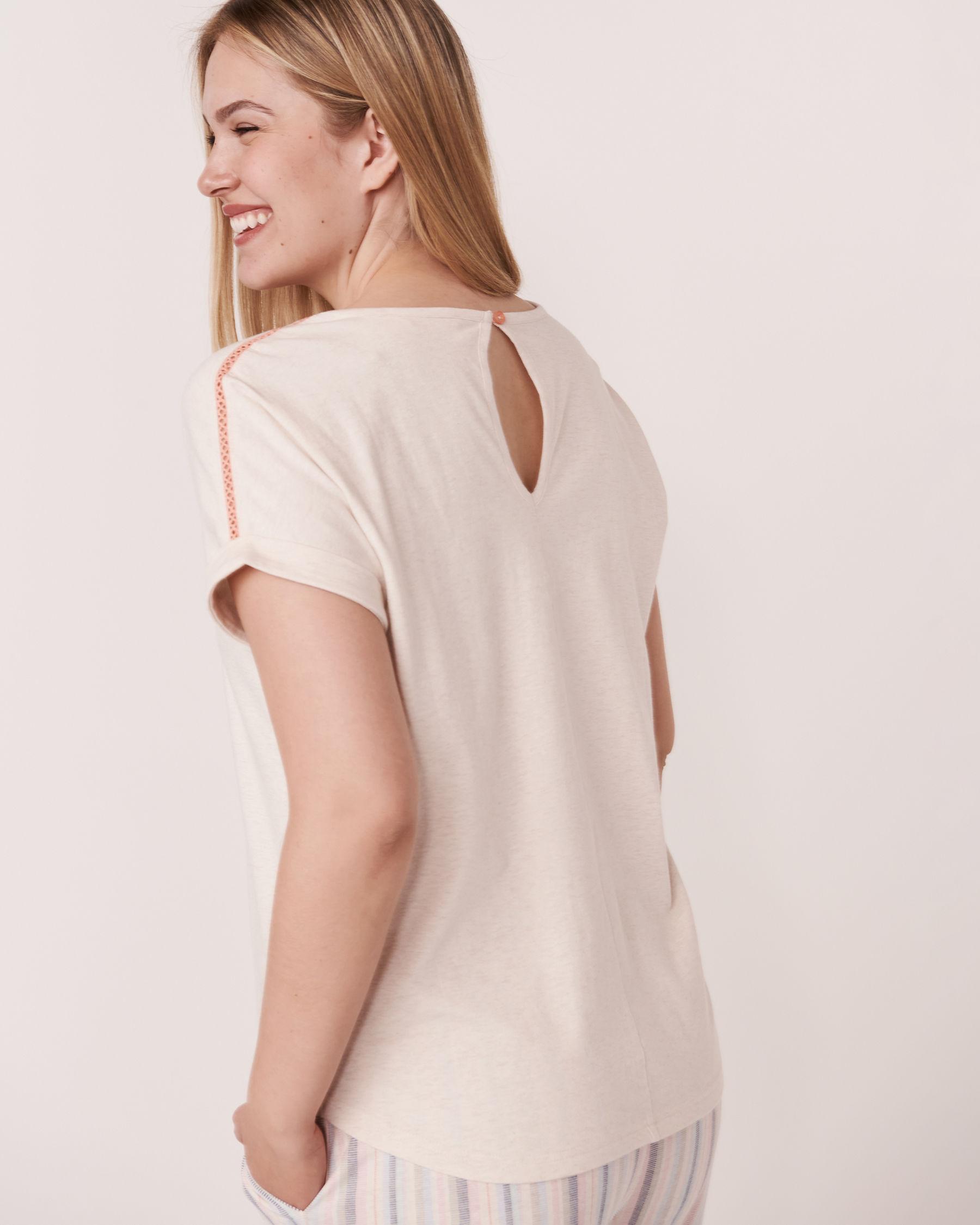 LA VIE EN ROSE Organic Cotton V-neck T-shirt Grey mix 40100048 - View2
