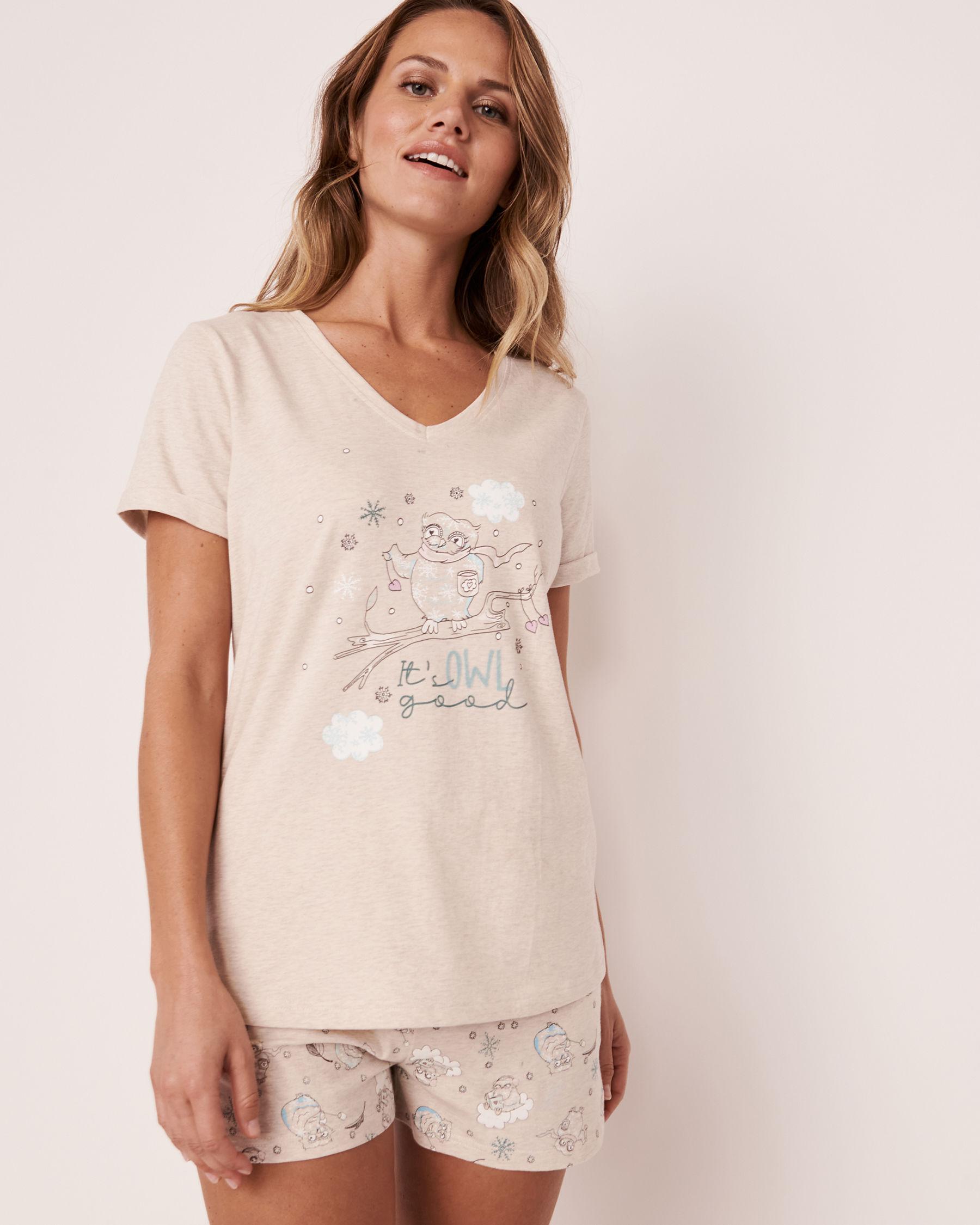 LA VIE EN ROSE Organic Cotton V-neck T-shirt Oatmeal 40100153 - View1