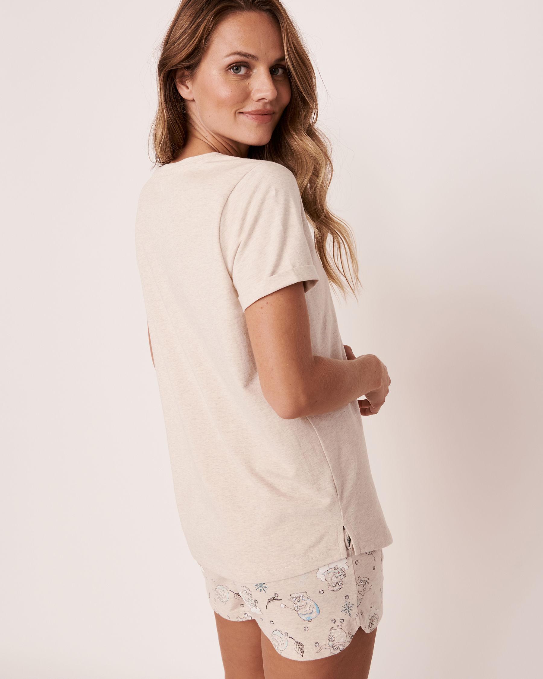 LA VIE EN ROSE Organic Cotton V-neck T-shirt Oatmeal 40100153 - View2