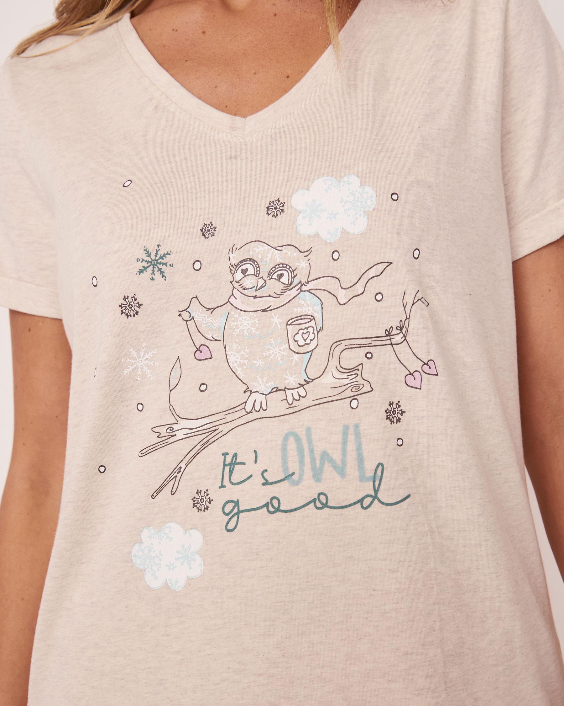 LA VIE EN ROSE Organic Cotton V-neck T-shirt Oatmeal 40100153 - View3