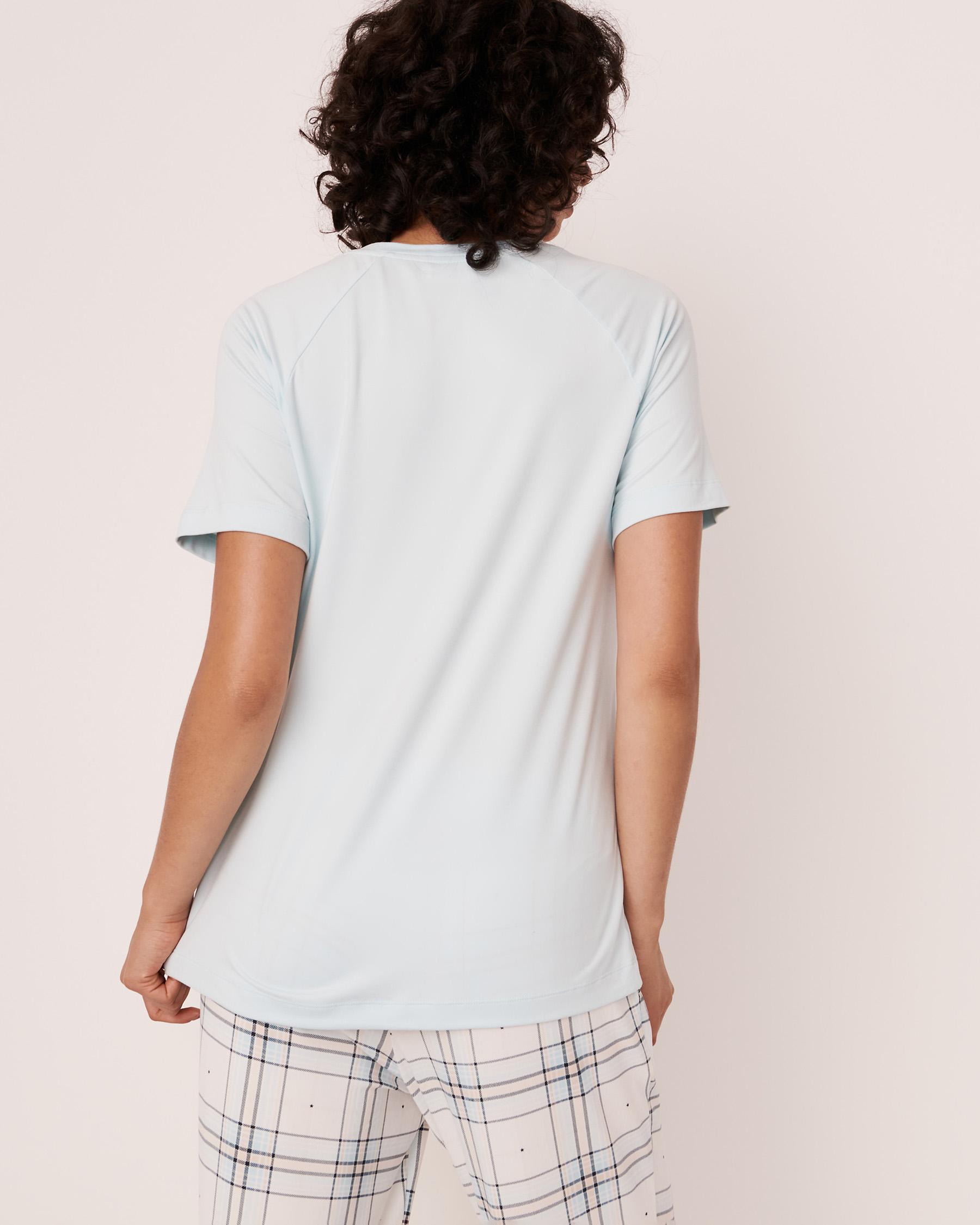 LA VIE EN ROSE Chandail manches courtes imprimé en peluche Lueur bleue 40100140 - Voir2