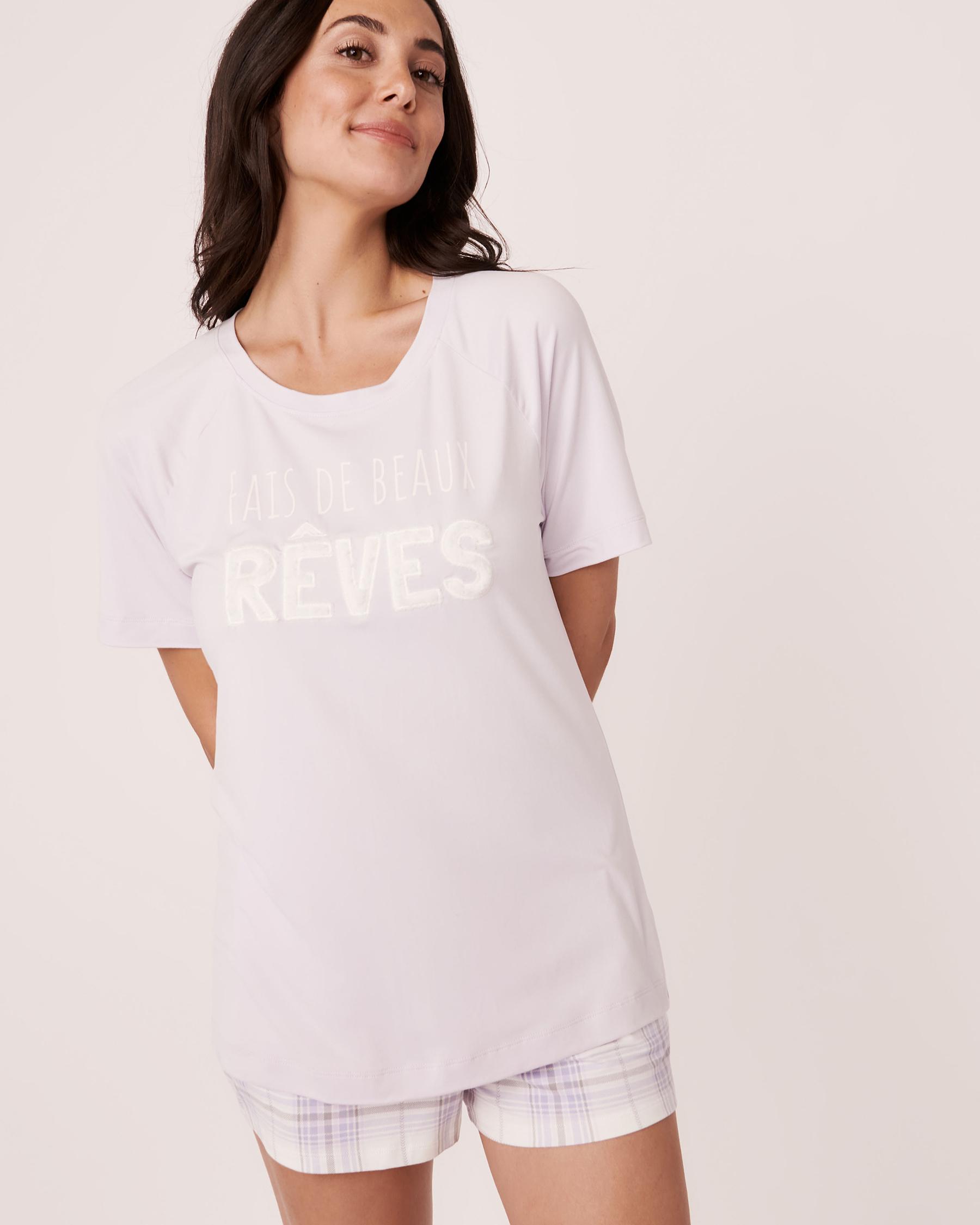 LA VIE EN ROSE Plush Print T-shirt Lavender 40100140 - View2