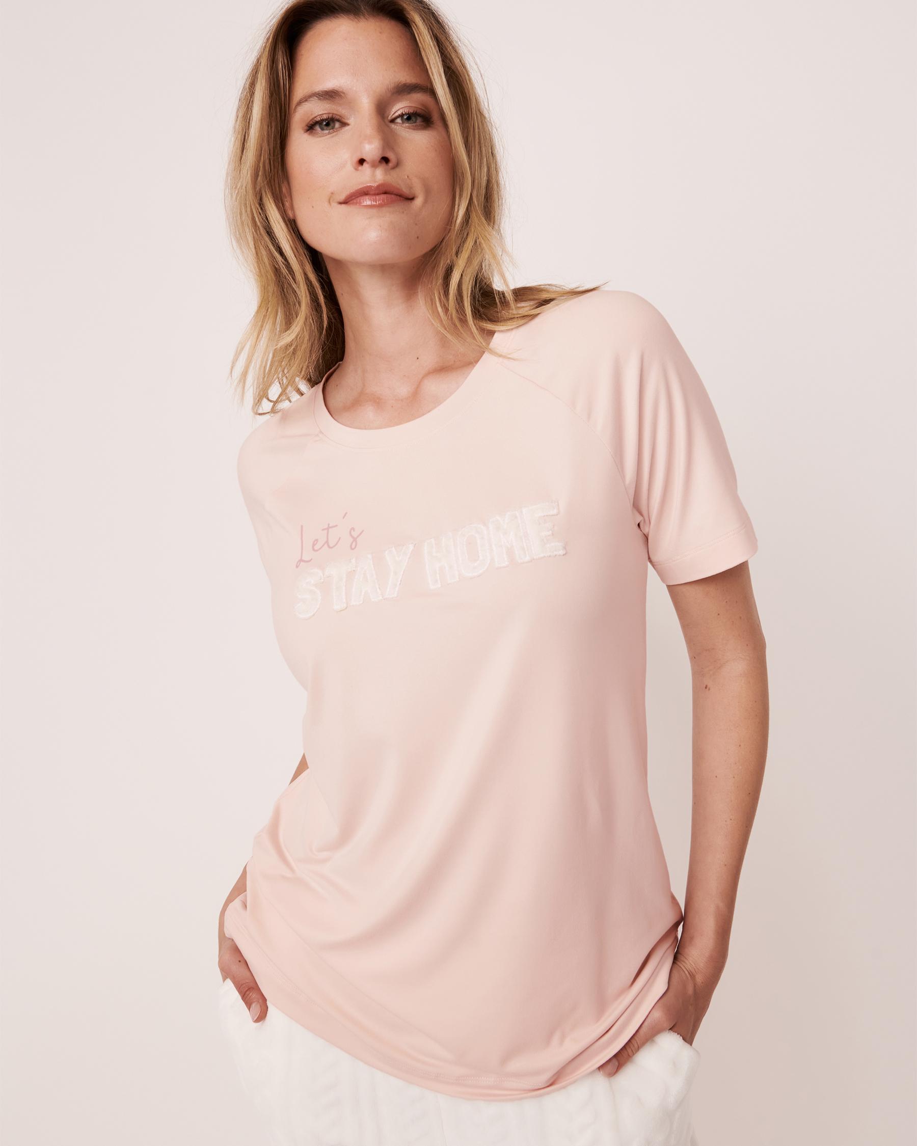 LA VIE EN ROSE Plush Print T-shirt Light pink 40100140 - View1