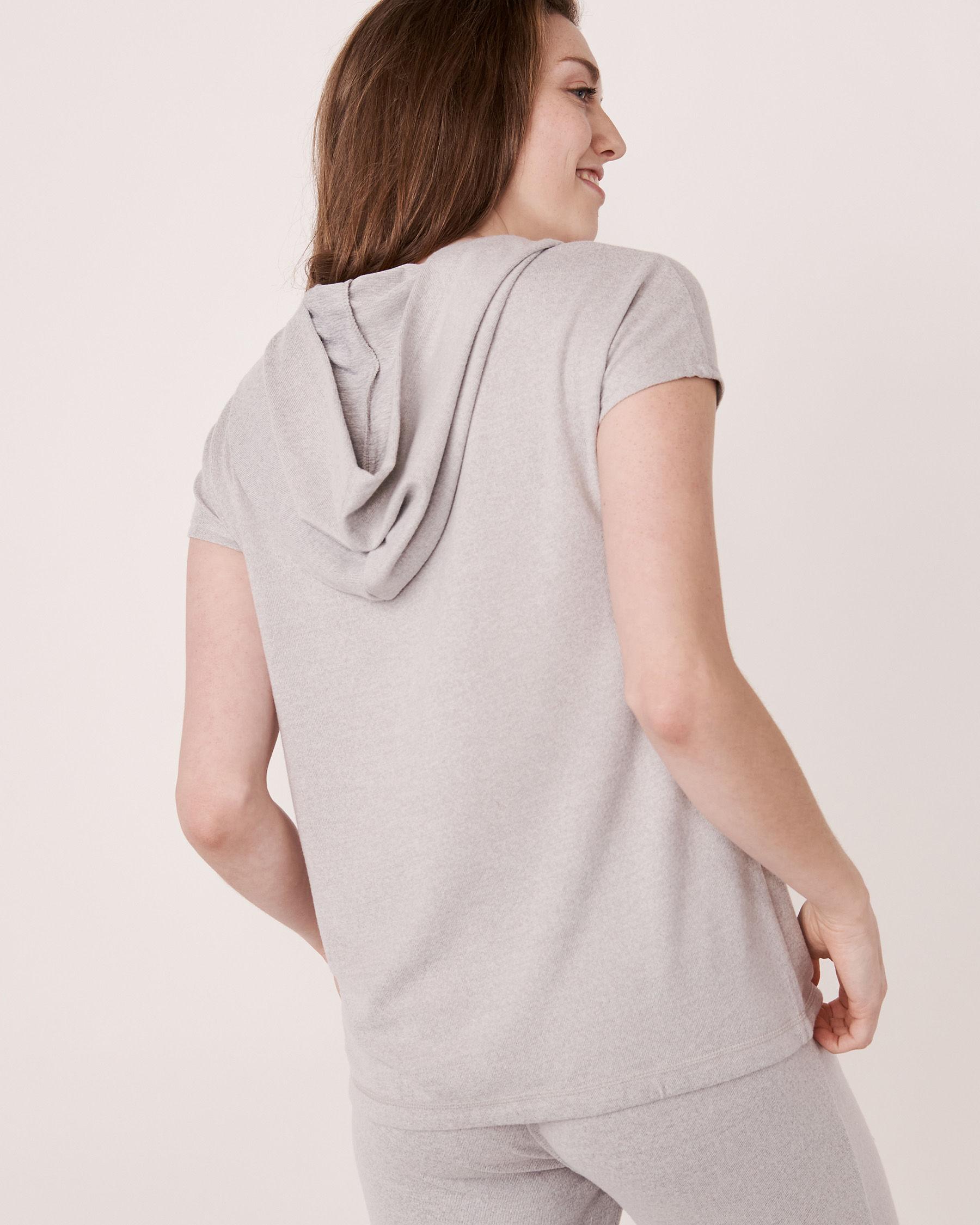 LA VIE EN ROSE Chandail manches courtes à capuchon en fibres recyclées Mélange de gris 40100039 - Voir2