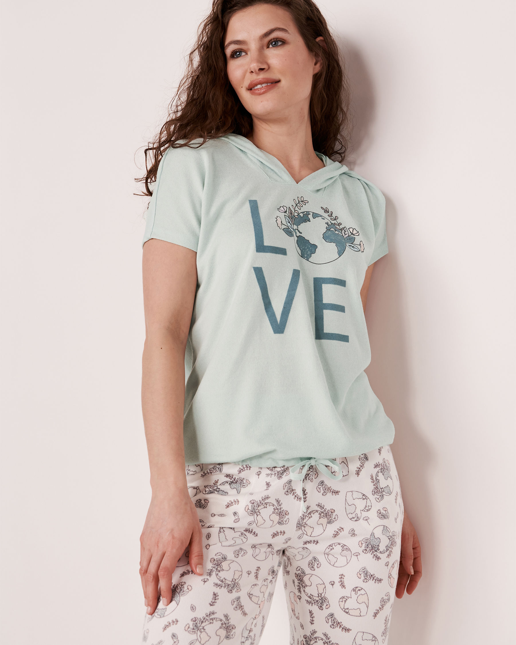 LA VIE EN ROSE Recycled Fibers Hooded T-shirt Blue mix 40100039 - View3