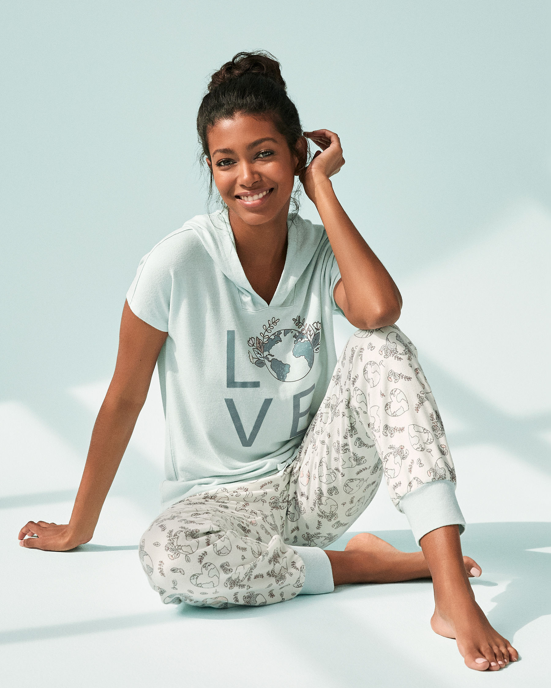LA VIE EN ROSE Recycled Fibers Hooded T-shirt Blue mix 40100039 - View1