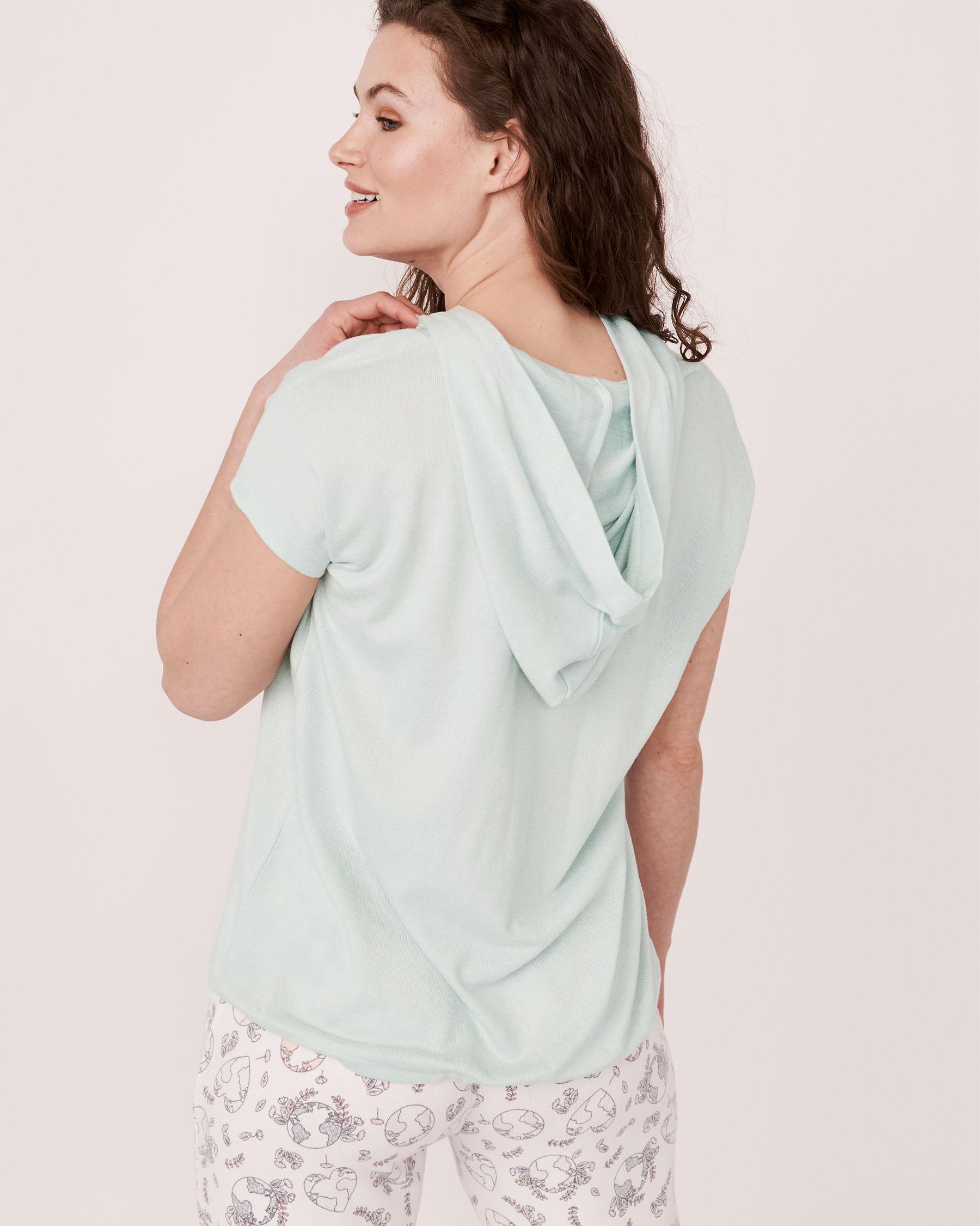 LA VIE EN ROSE Recycled Fibers Hooded T-shirt Blue mix 40100039 - View2