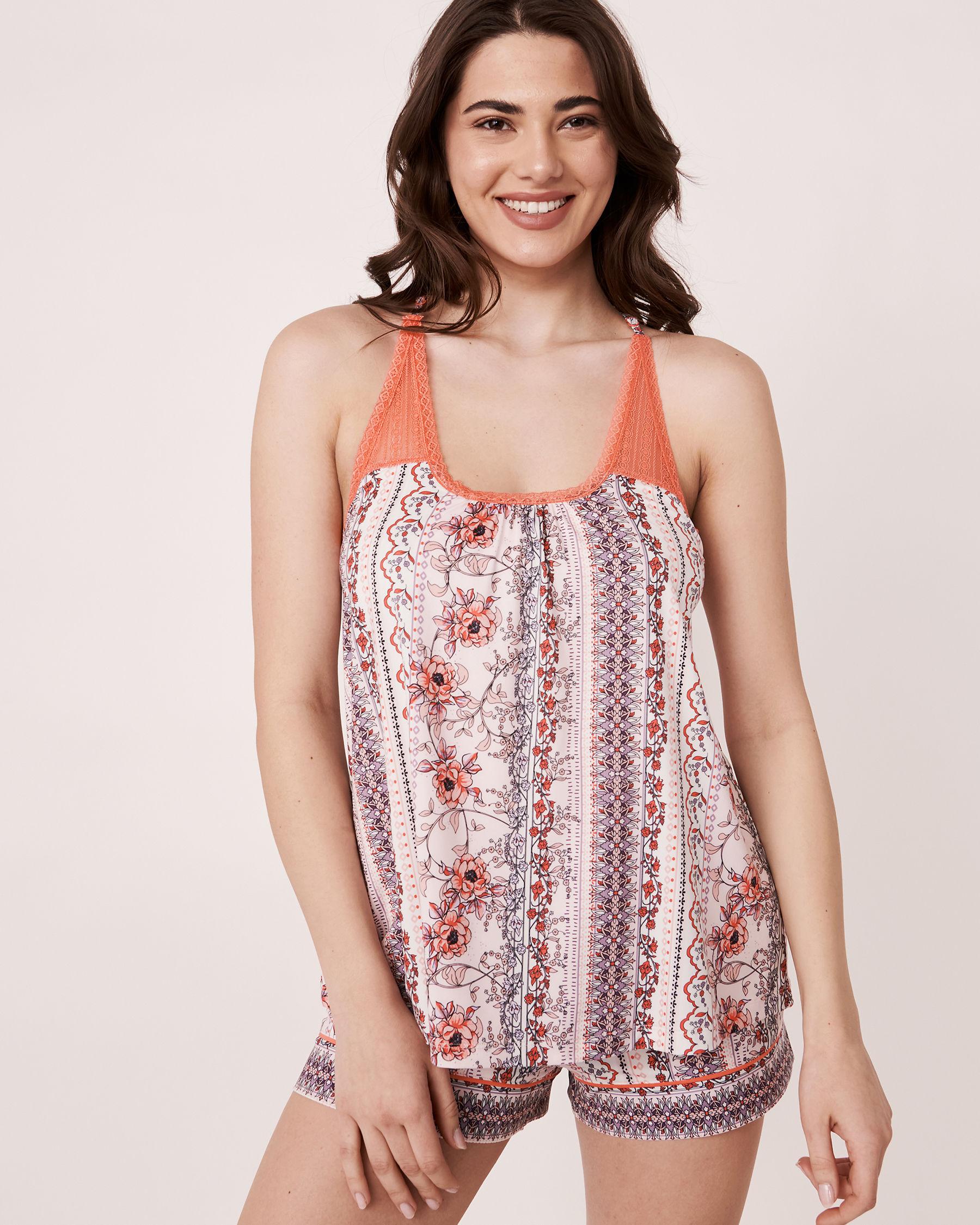 LA VIE EN ROSE Camisole dos nageur en dentelle en fibres recyclées Imprimé fleuri vertical 40100060 - Voir1