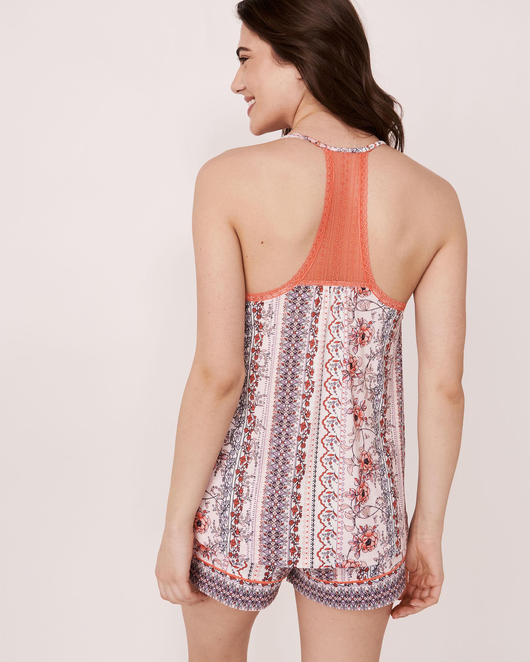 LA VIE EN ROSE Camisole dos nageur en dentelle en fibres recyclées Imprimé fleuri vertical 40100060 - Voir2