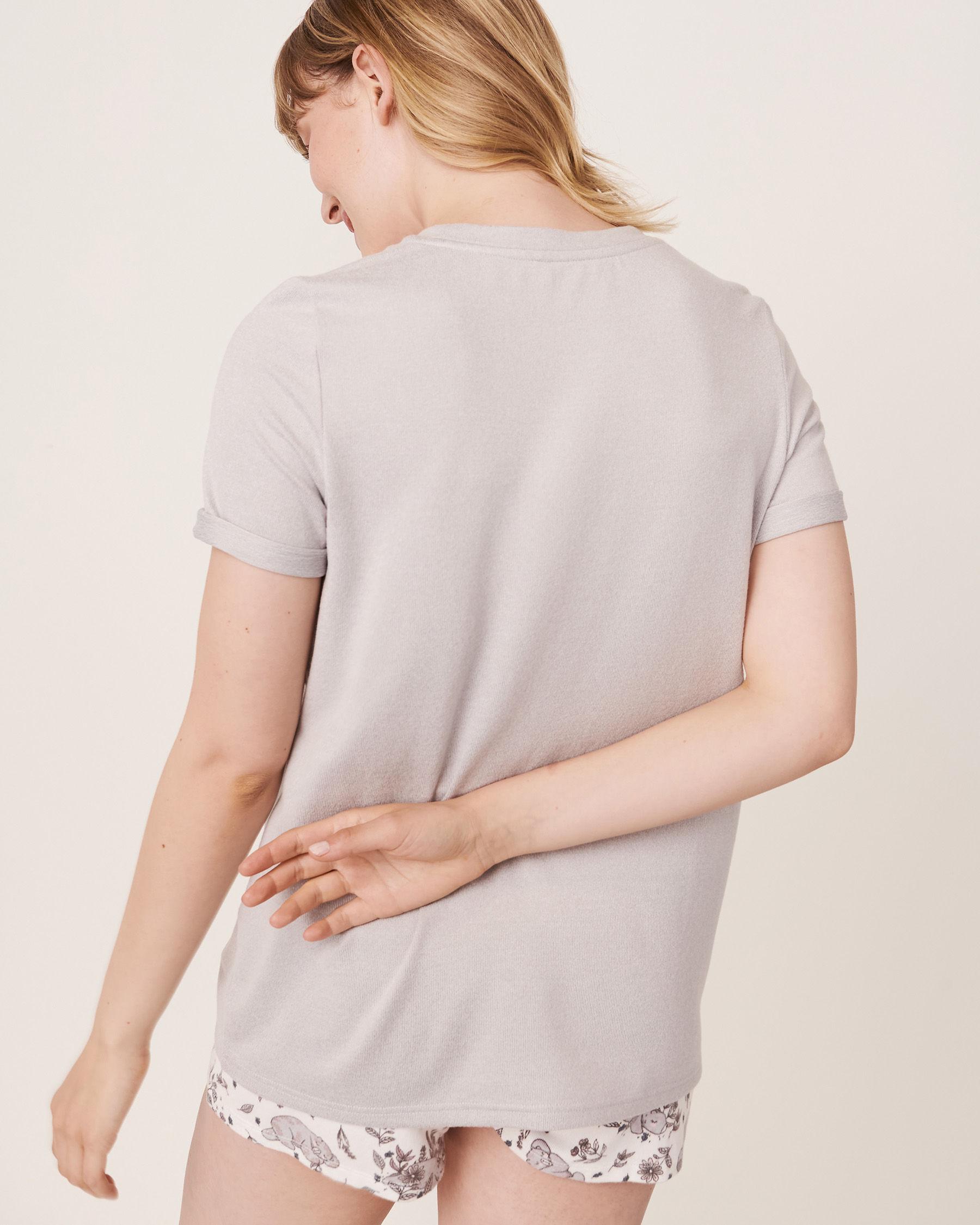 LA VIE EN ROSE Chandail manches courtes encolure ronde en fibres recyclées Mélange de gris 40100141 - Voir2