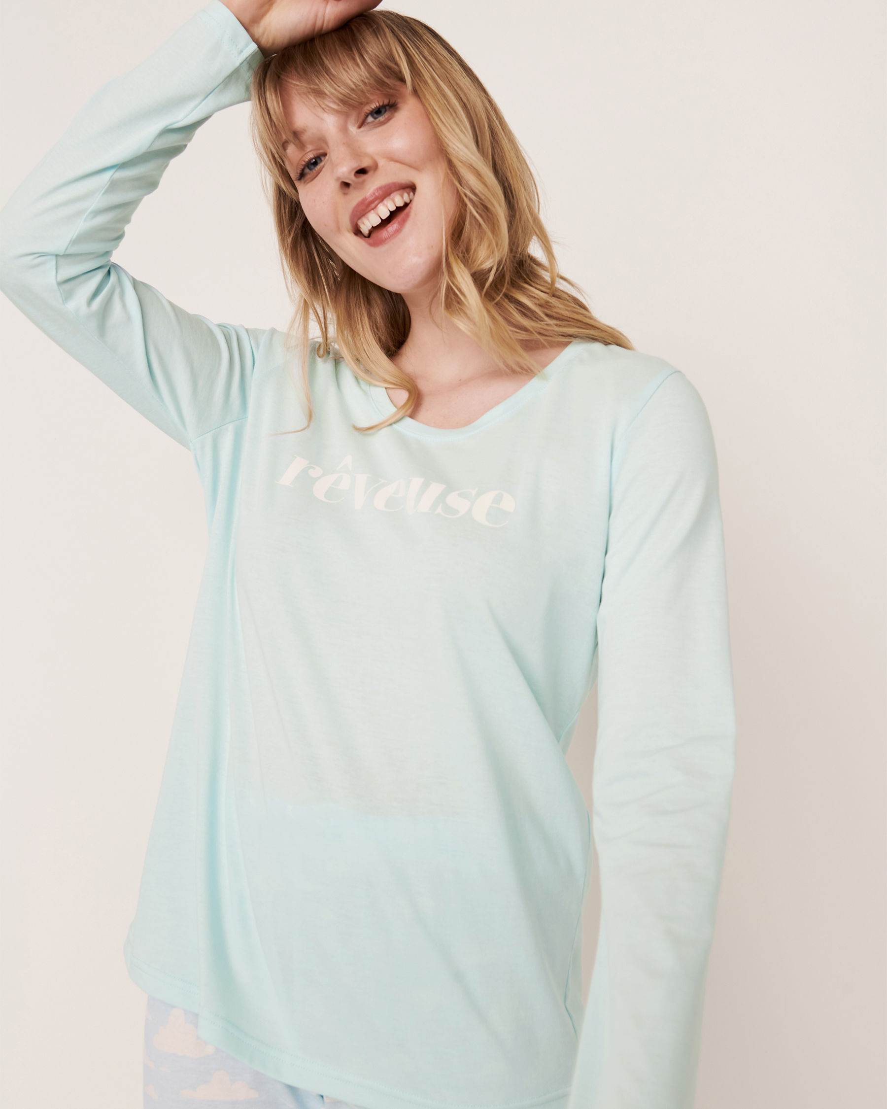 LA VIE EN ROSE Scoop Neck Long Sleeve Shirt Blue glow 40100169 - View1