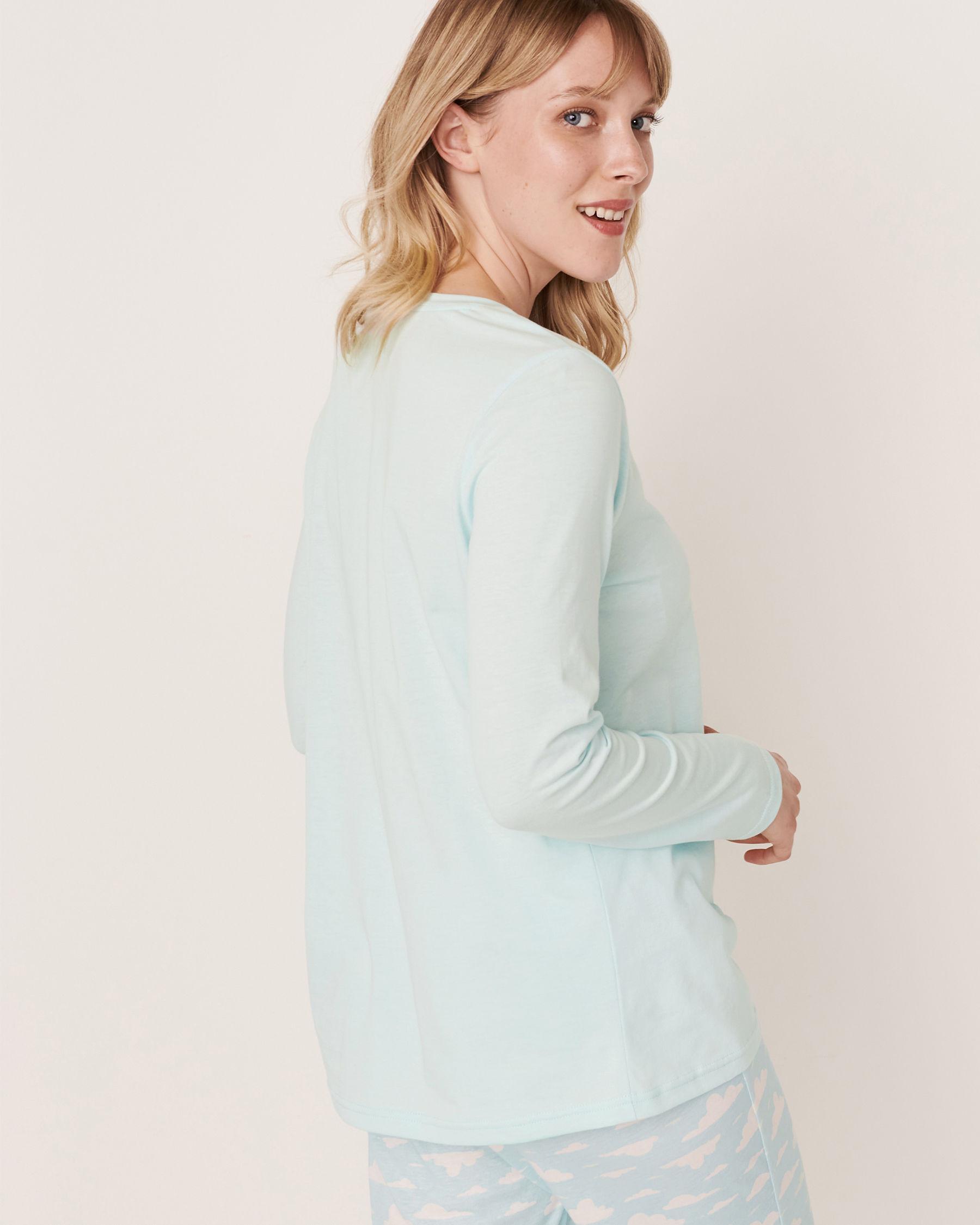 LA VIE EN ROSE Scoop Neck Long Sleeve Shirt Blue glow 40100169 - View2