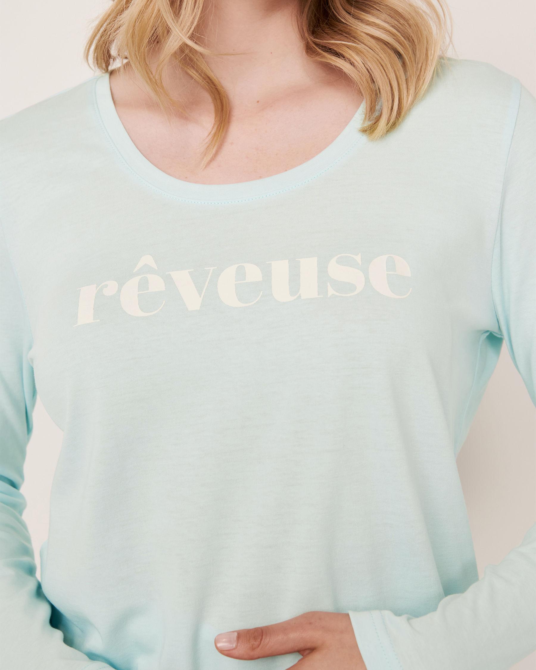 LA VIE EN ROSE Scoop Neck Long Sleeve Shirt Blue glow 40100169 - View3