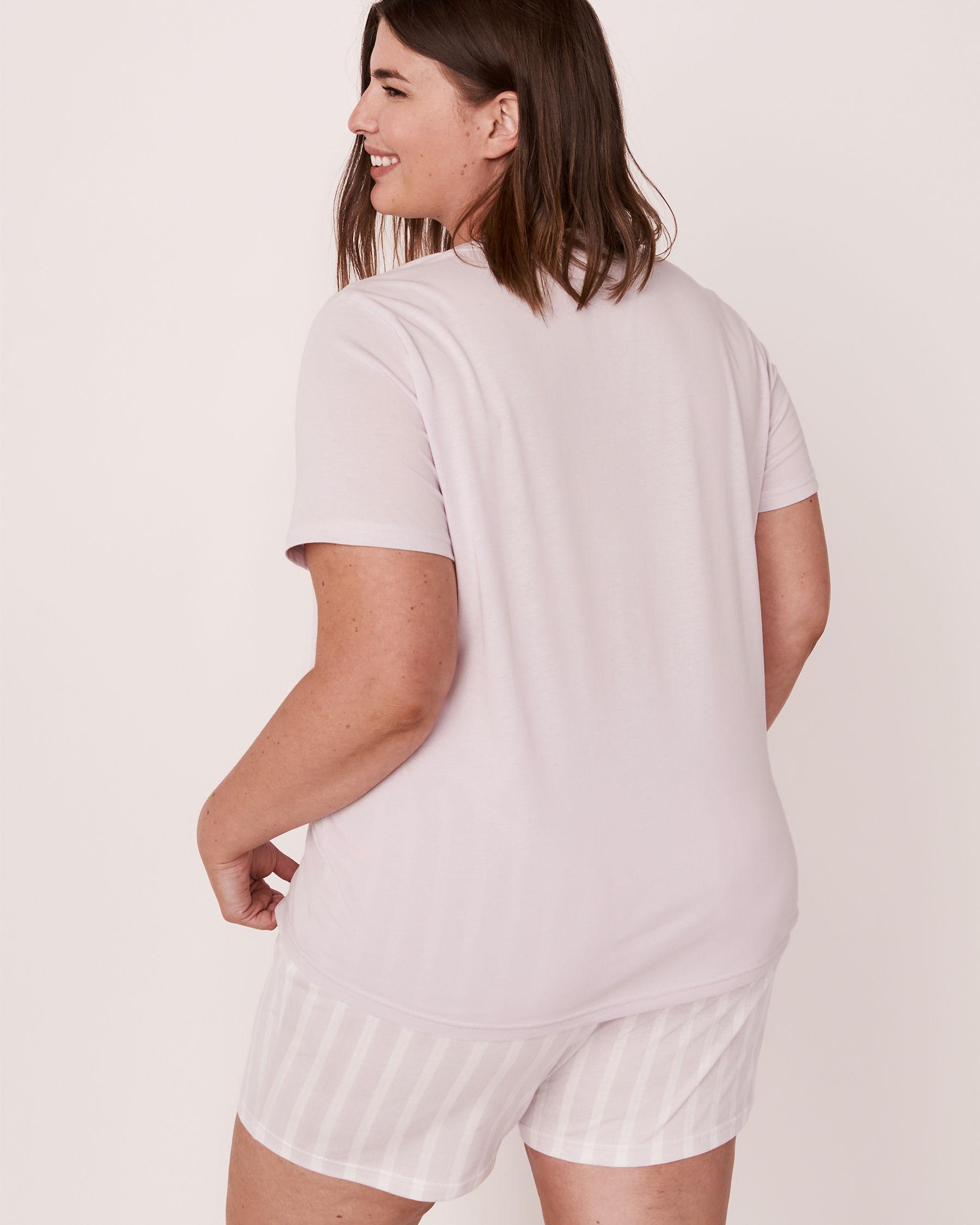 LA VIE EN ROSE Scoop Neck T-shirt Lavender 40100167 - View3