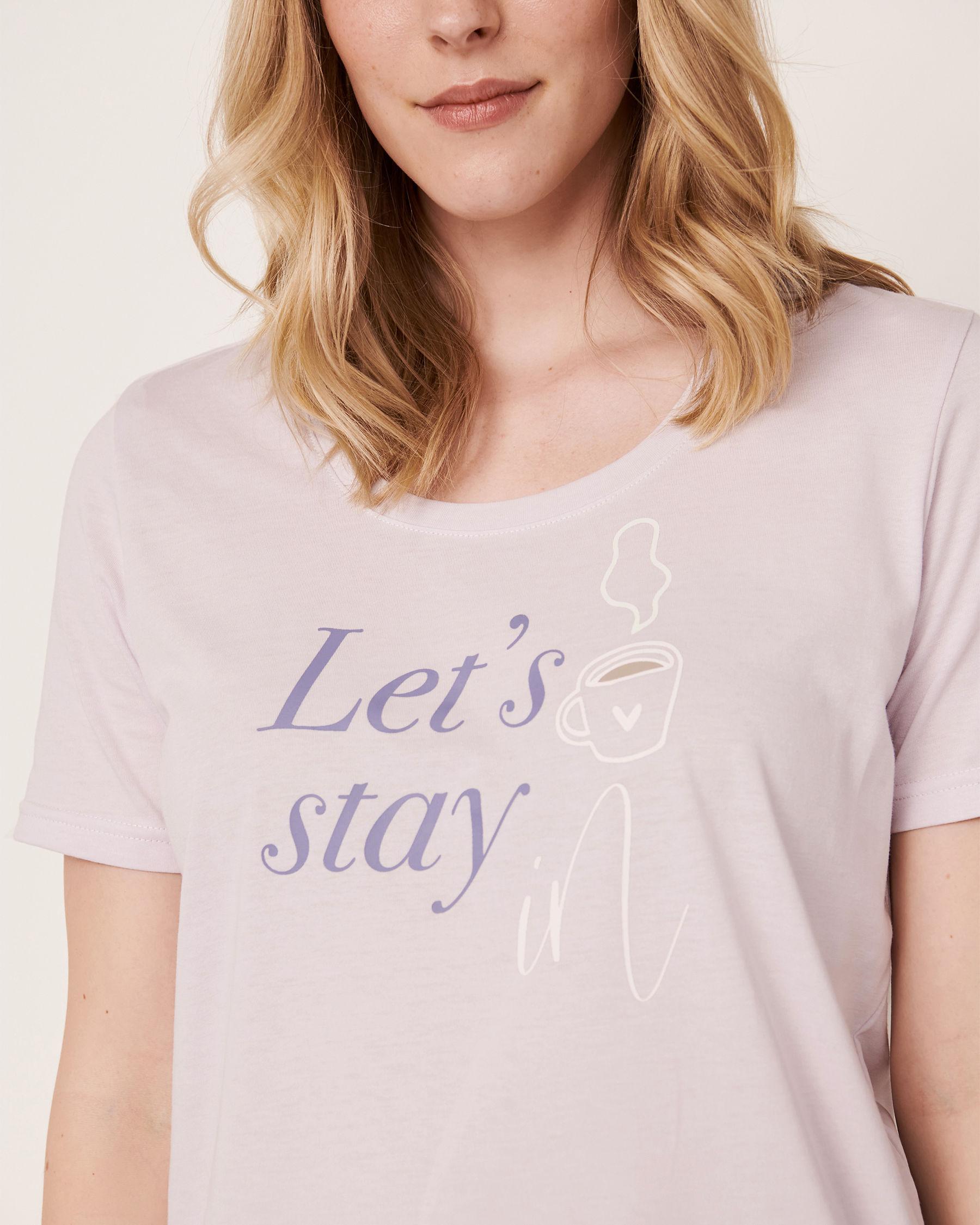 LA VIE EN ROSE Scoop Neck T-shirt Lavender 40100167 - View6