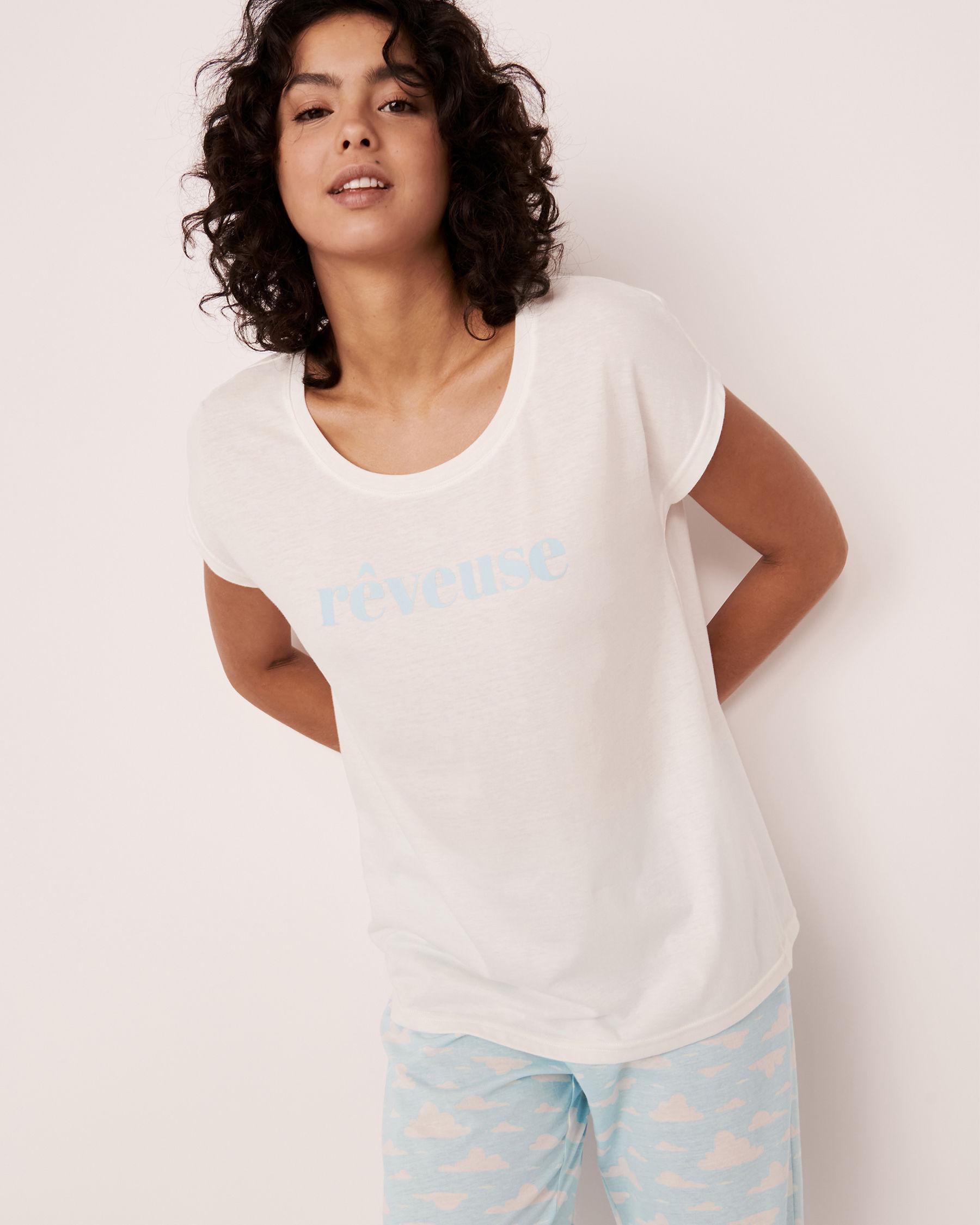 LA VIE EN ROSE Scoop Neck T-shirt White 40100170 - View1