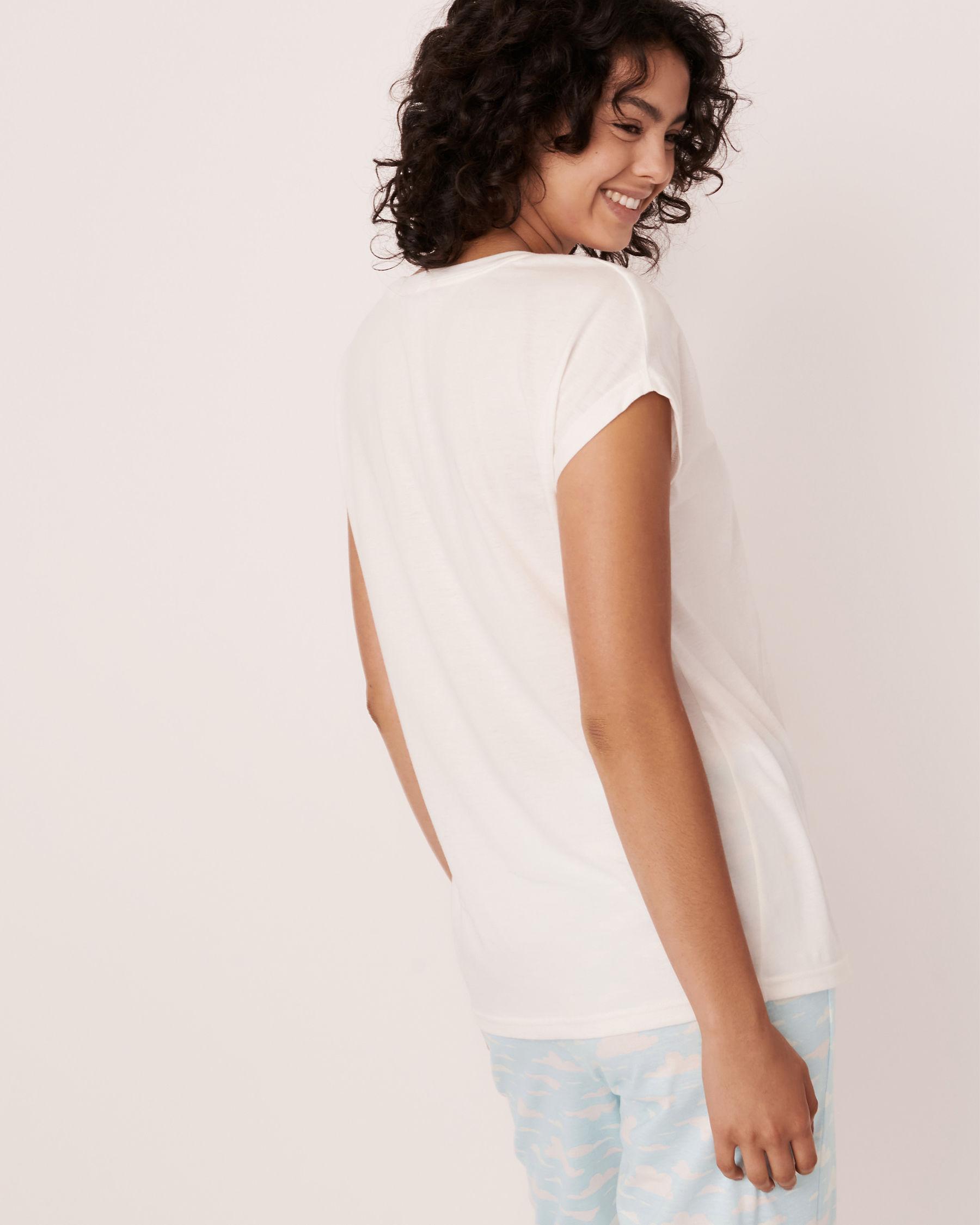 LA VIE EN ROSE Scoop Neck T-shirt White 40100170 - View2