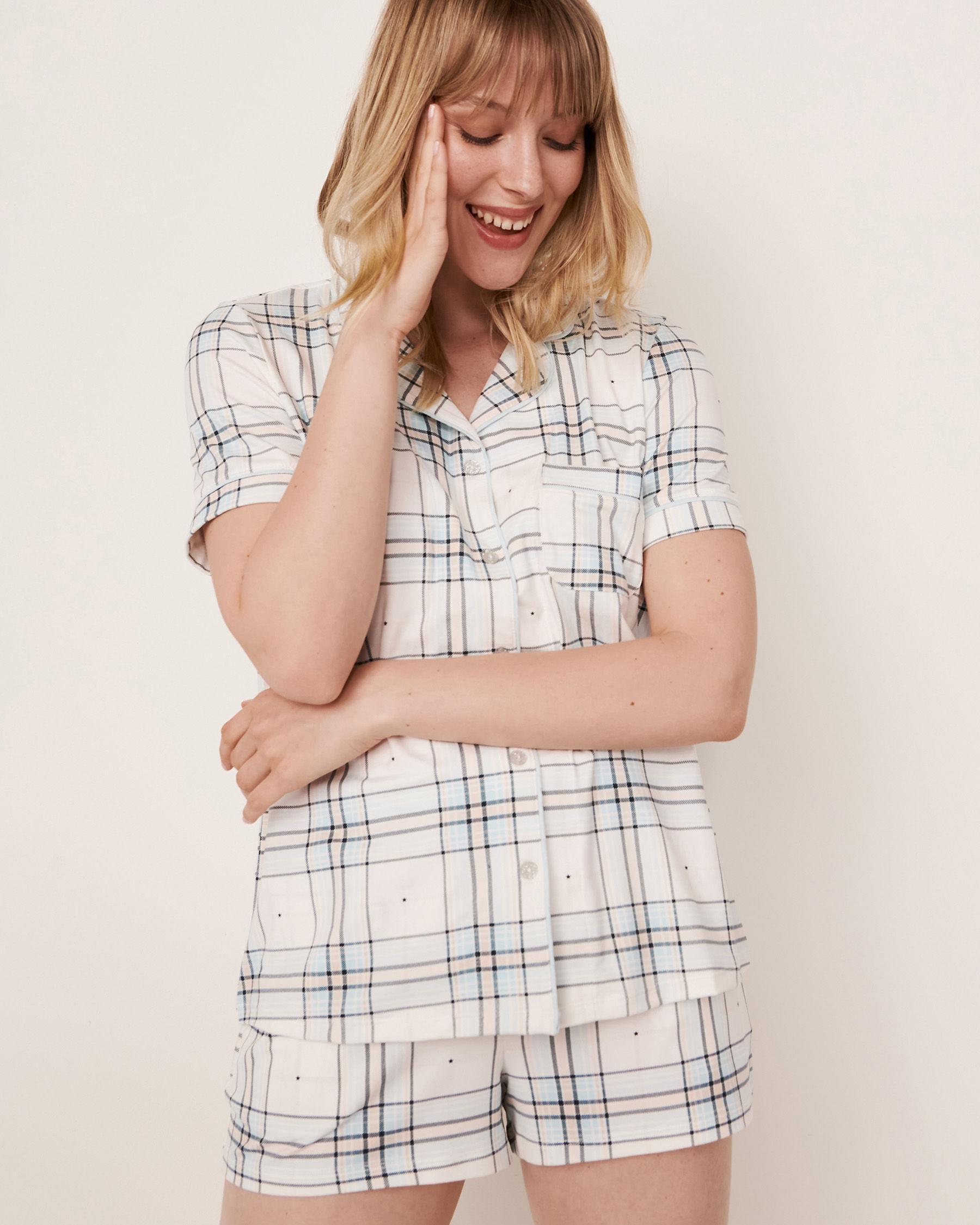 LA VIE EN ROSE Short Sleeve Shirt Blue plaid 40100147 - View1